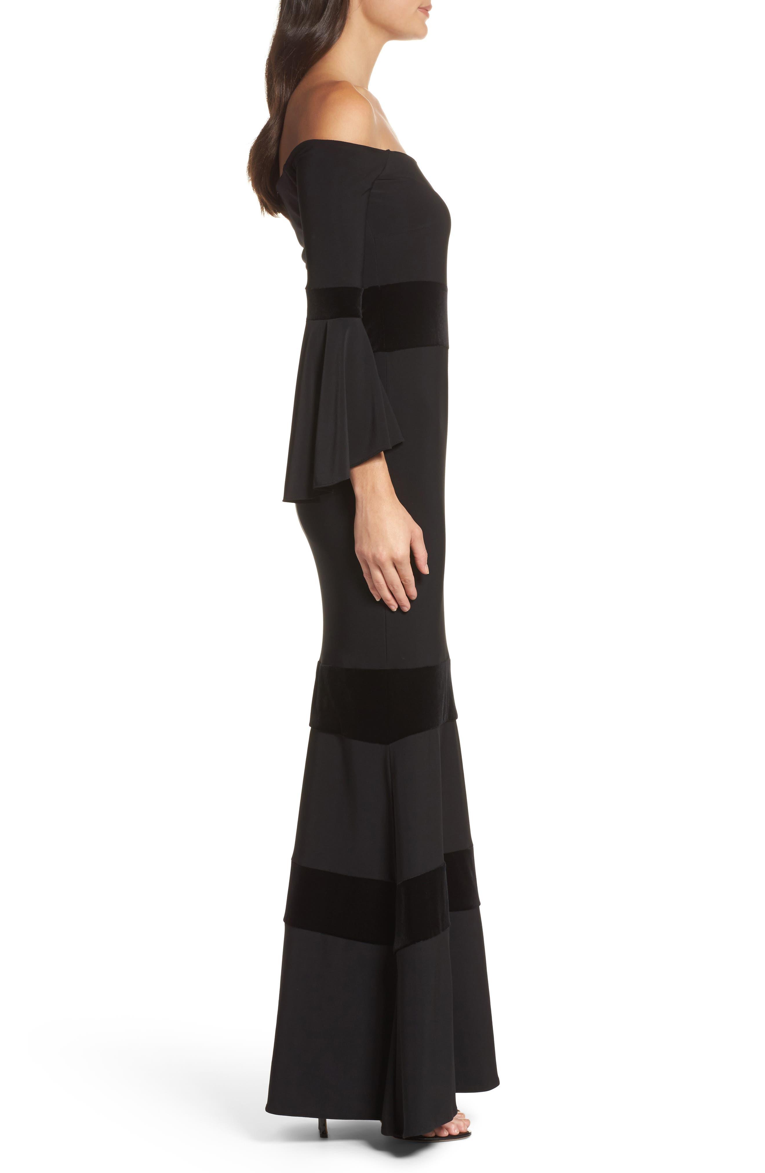 Velvet Trim Off the Shoulder Mermaid Dress,                             Alternate thumbnail 3, color,                             Black