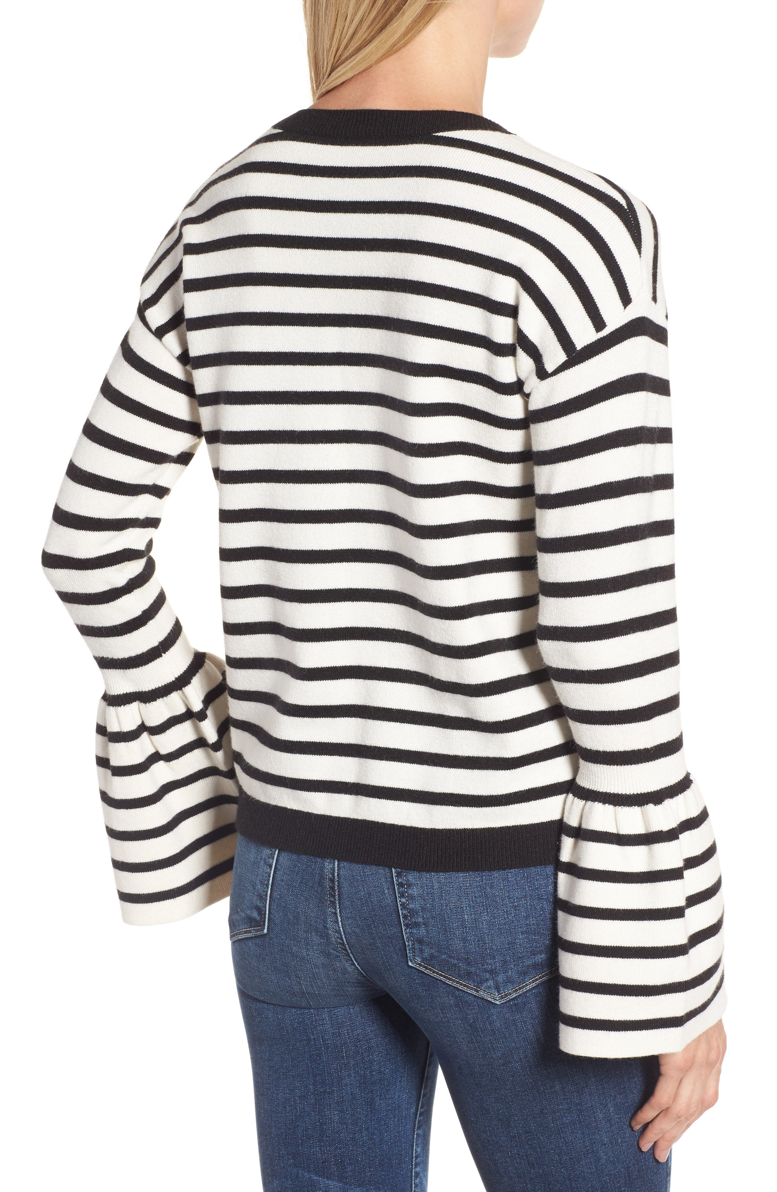 Bell Sleeve Sweater,                             Alternate thumbnail 2, color,                             Black- Ivory Stripe