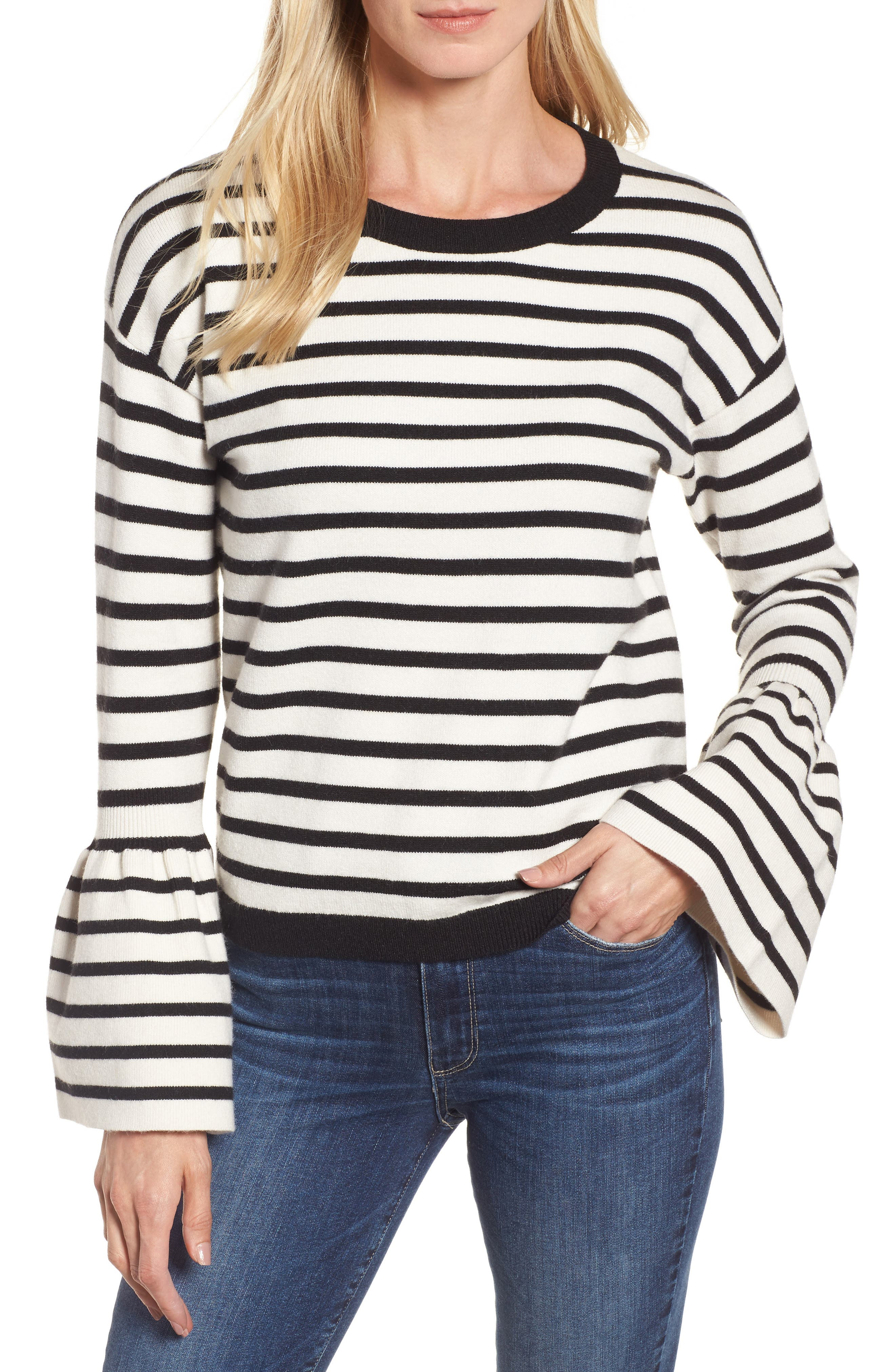 Bell Sleeve Sweater,                             Main thumbnail 1, color,                             Black- Ivory Stripe
