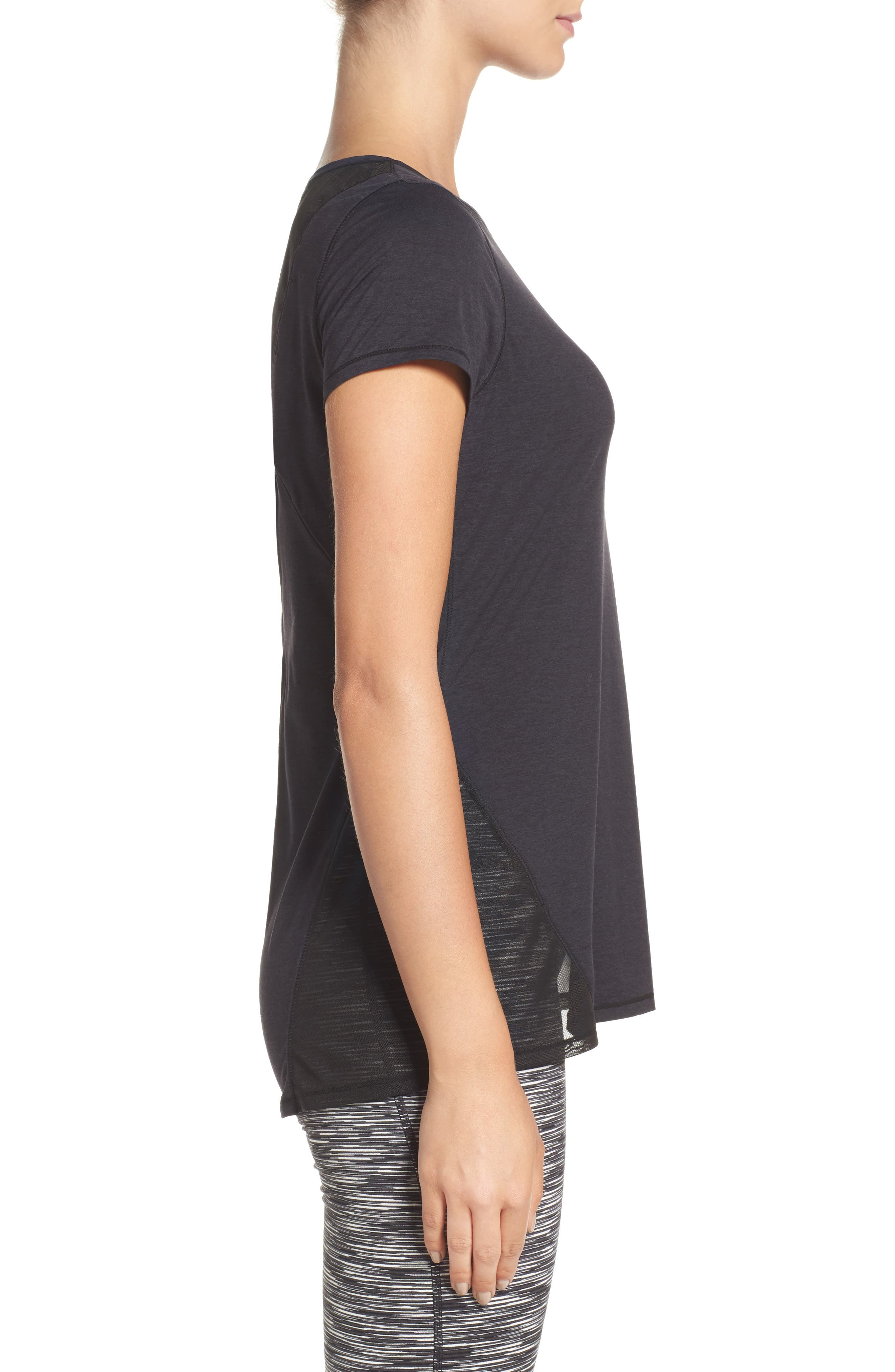Fiona Mesh Inset Tee,                             Alternate thumbnail 8, color,                             Black