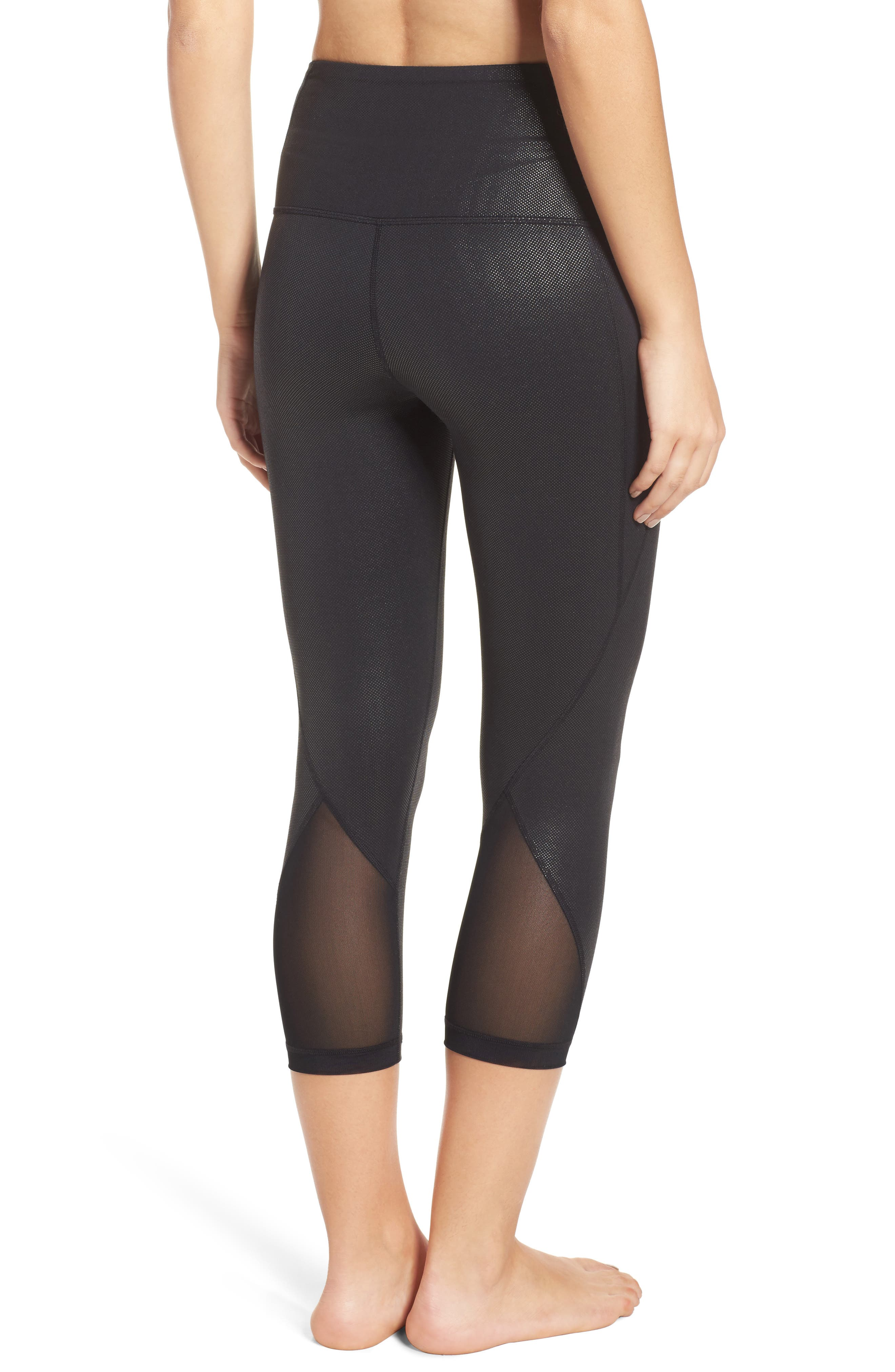Hatha Crop Leggings,                             Alternate thumbnail 2, color,                             Black Pearl Dot