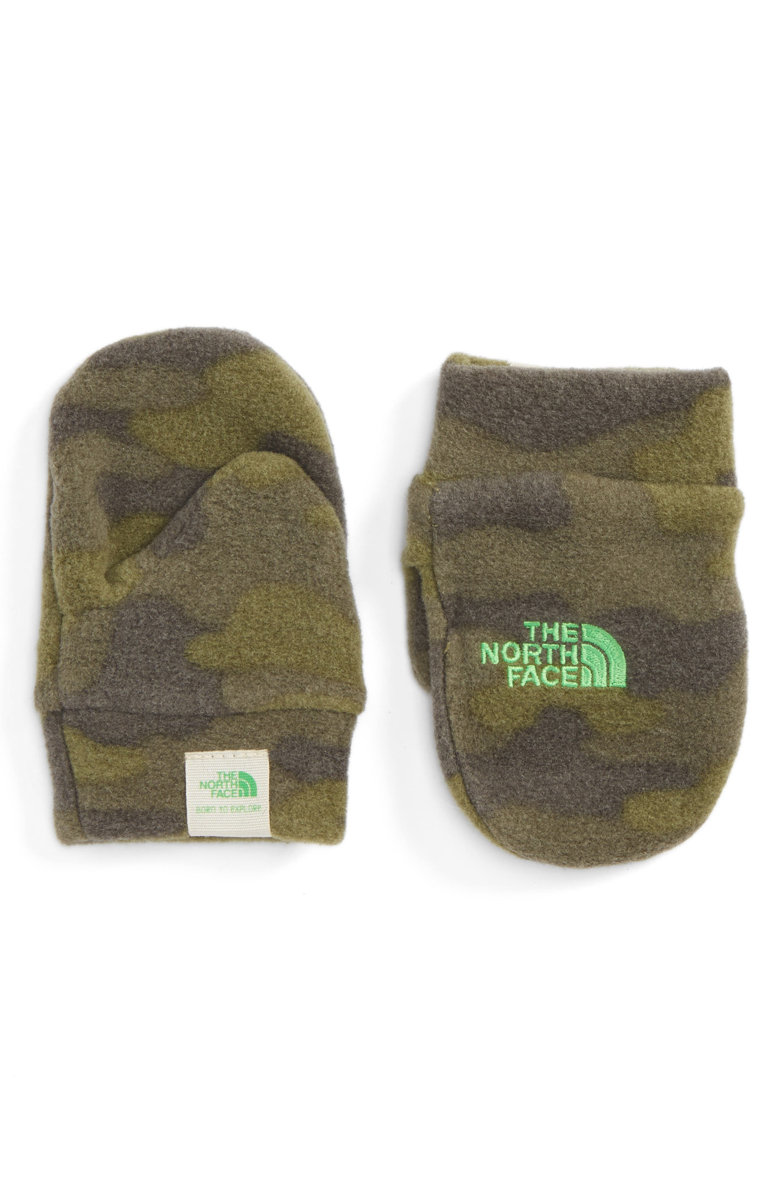 'Nugget' Fleece Mittens,                             Main thumbnail 1, color,                             Burnt Olive Green Camo