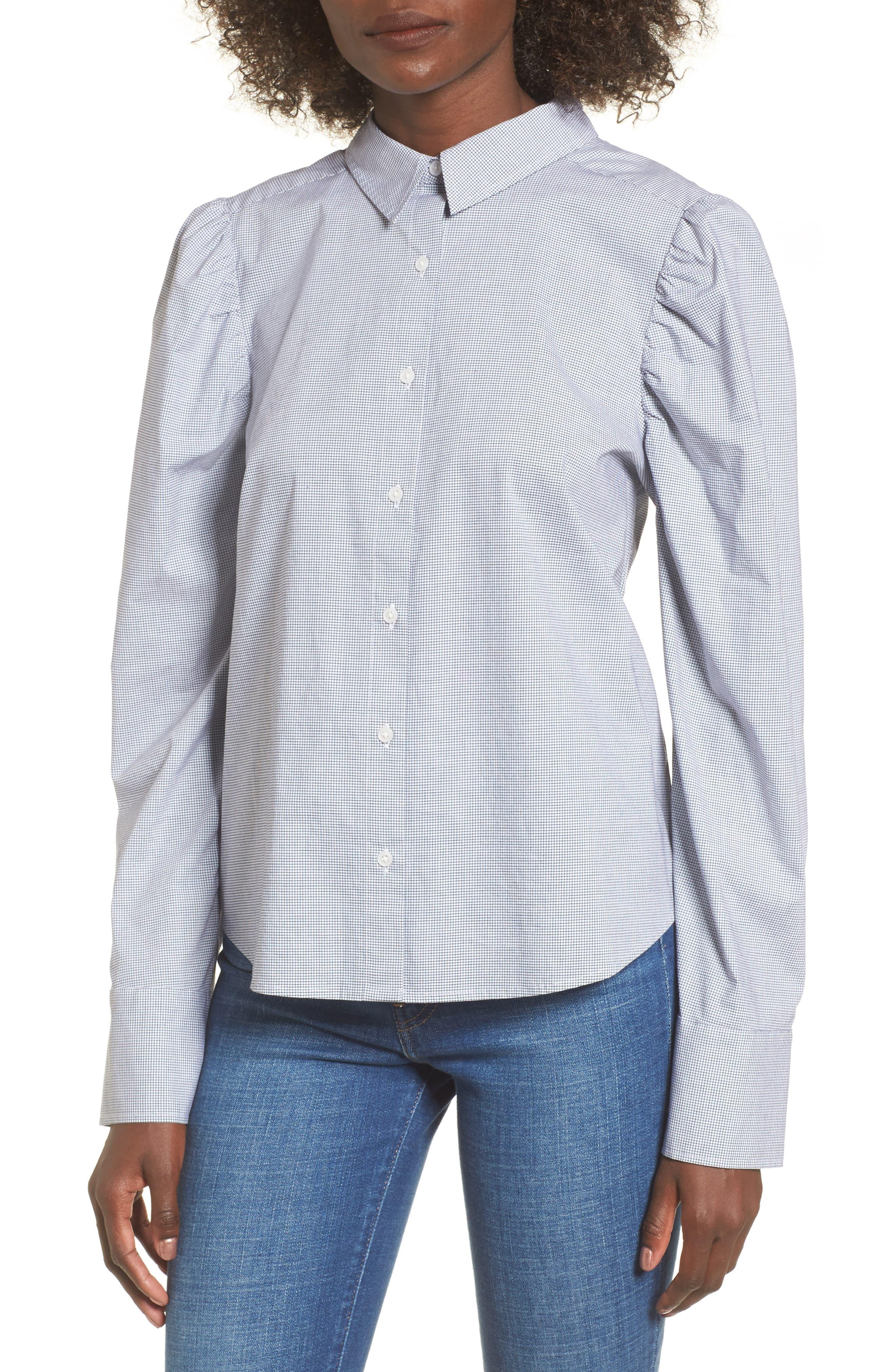 Puff Sleeve Top,                         Main,                         color, Navy Evening Jillian Grid