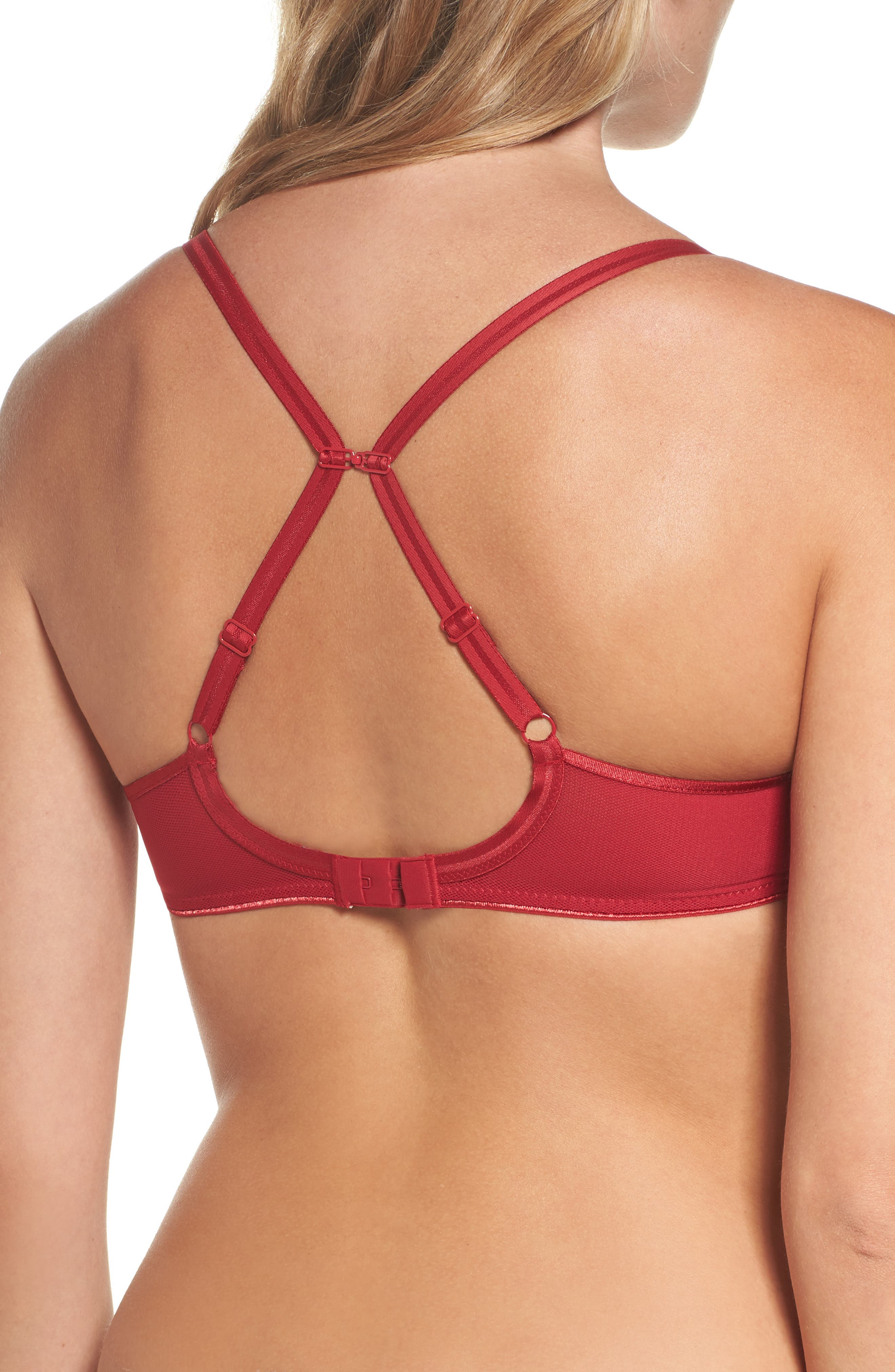 Aeria Underwire Spacer Bra,                             Alternate thumbnail 3, color,                             Candy Apple