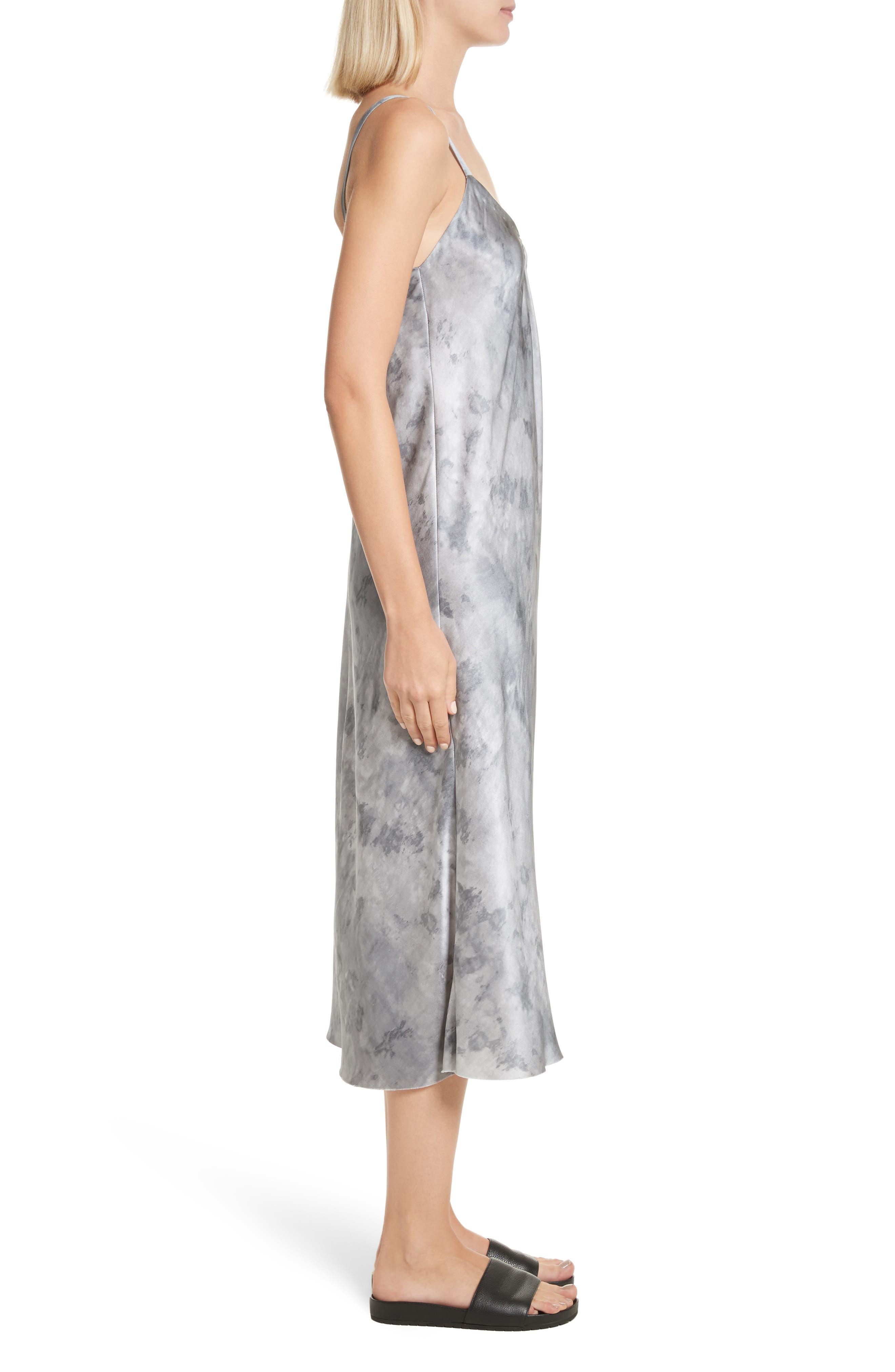 Watercolor Marble Silk Midi Dress,                             Alternate thumbnail 3, color,                             Dark Smoke