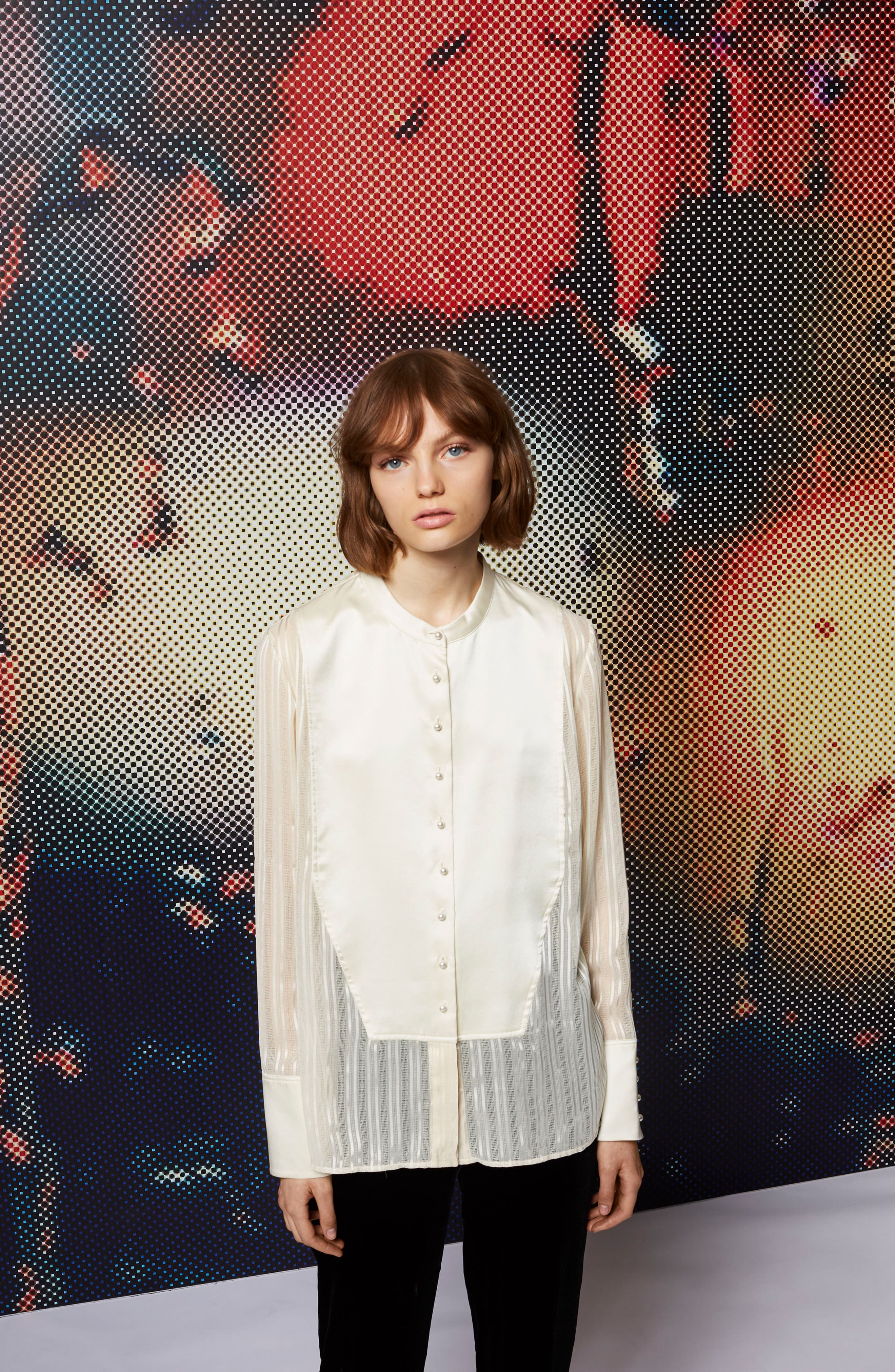 Alternate Image 2  - Topshop Satin Bib Shirt