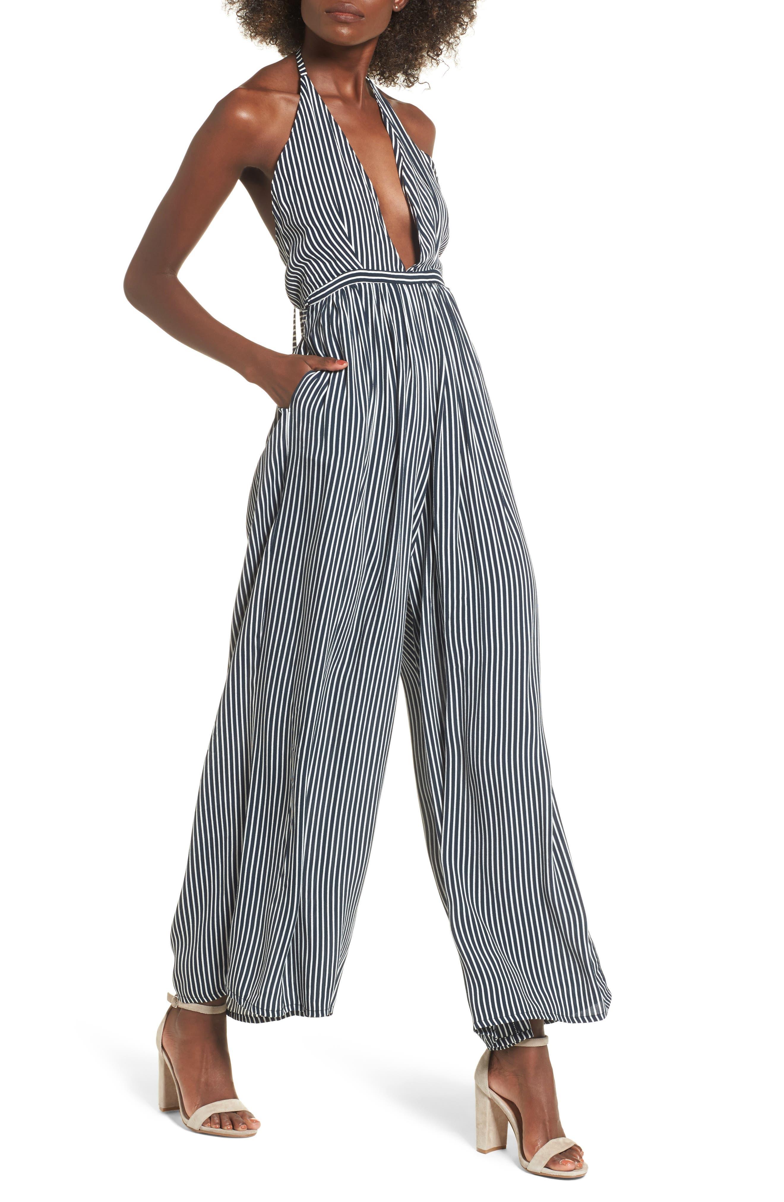 Riley Stripe Halter Jumpsuit,                             Alternate thumbnail 4, color,                             Cap Maison Stripe Print