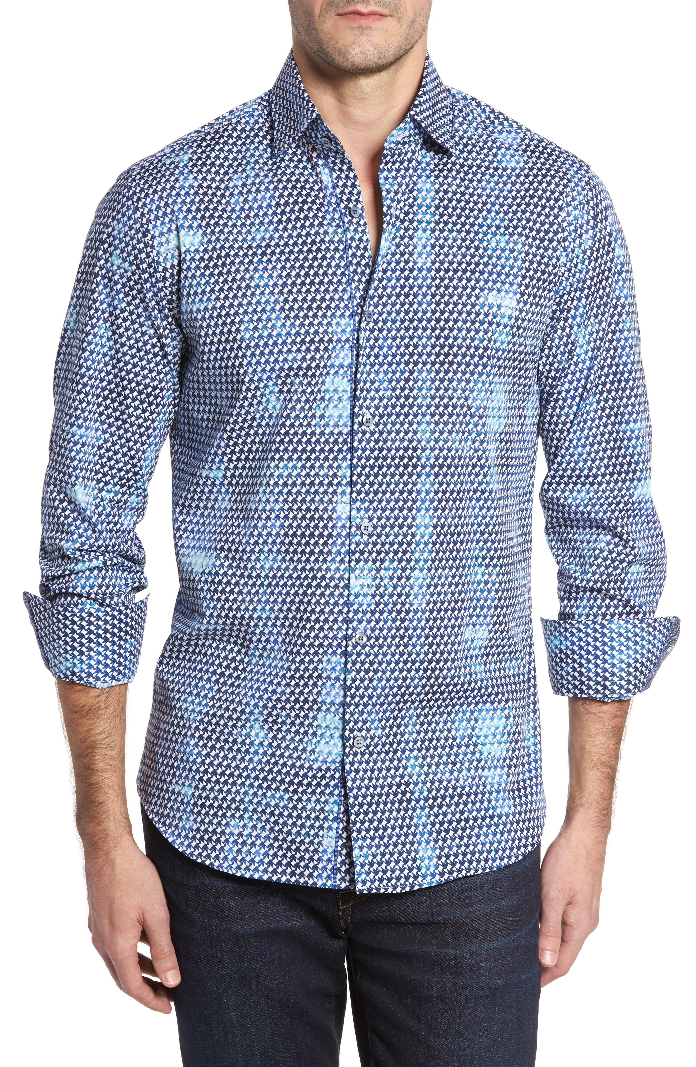Slim Fit Origami FX Print Sport Shirt,                             Main thumbnail 1, color,                             Blue