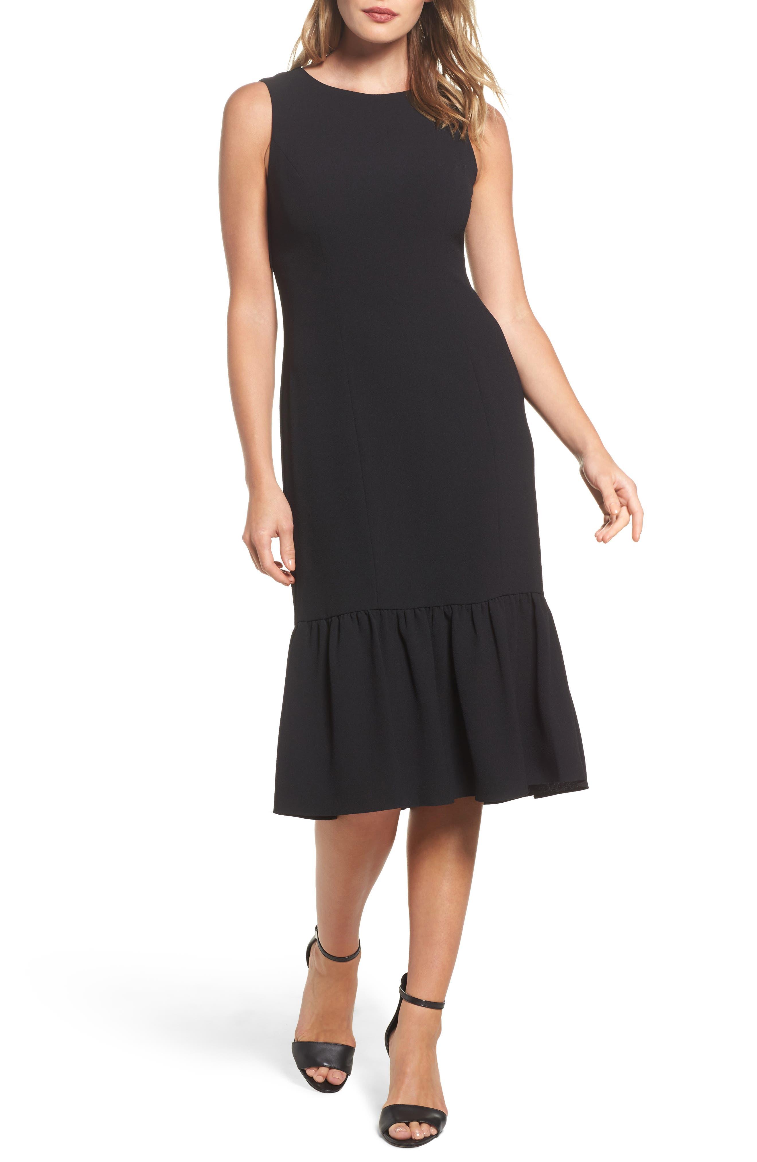 Ruffle Back Crepe Sheath Dress,                             Main thumbnail 1, color,                             Black
