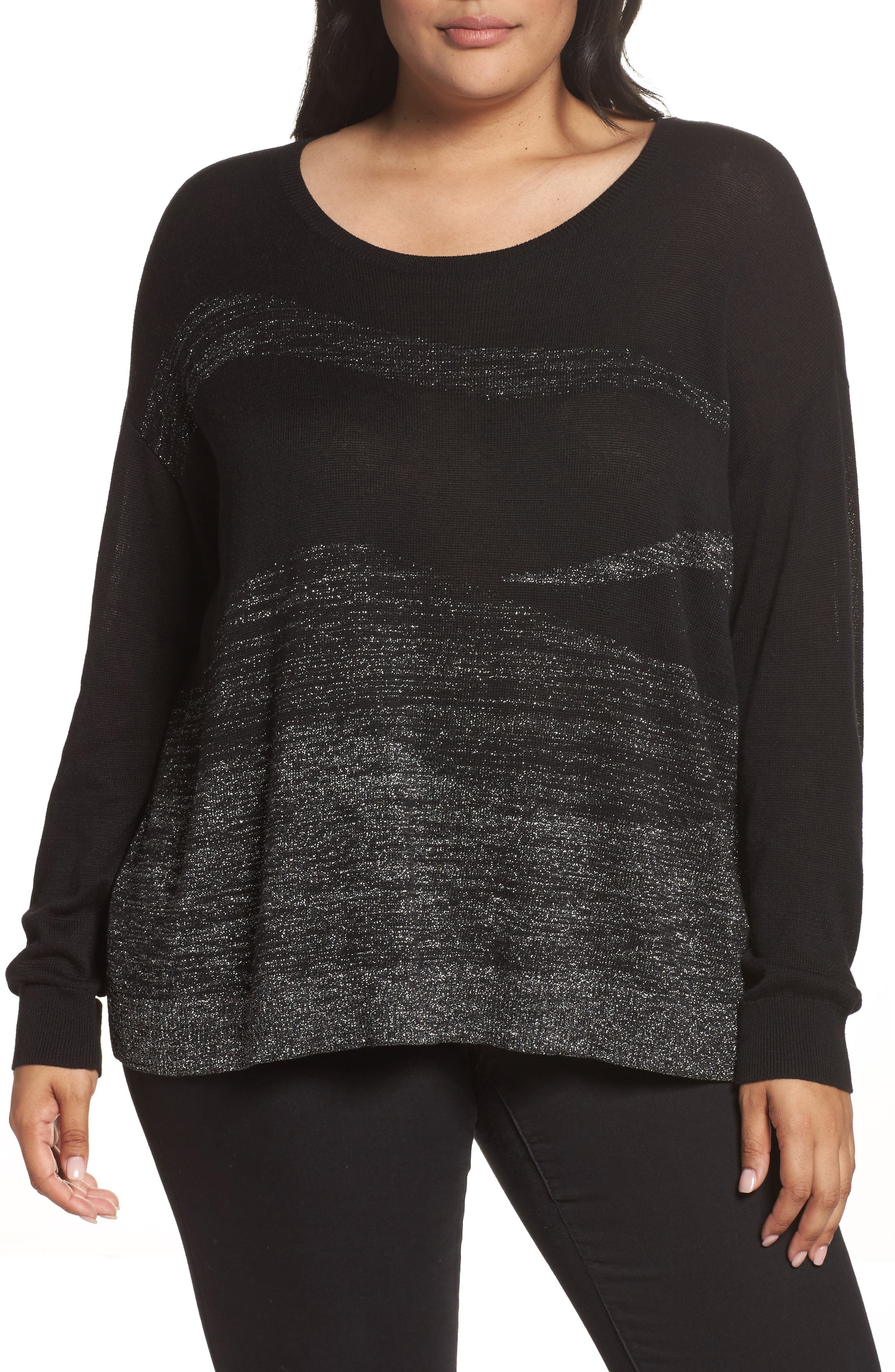 Main Image - Sejour Metallic Scoop Neck Sweater (Plus Size)