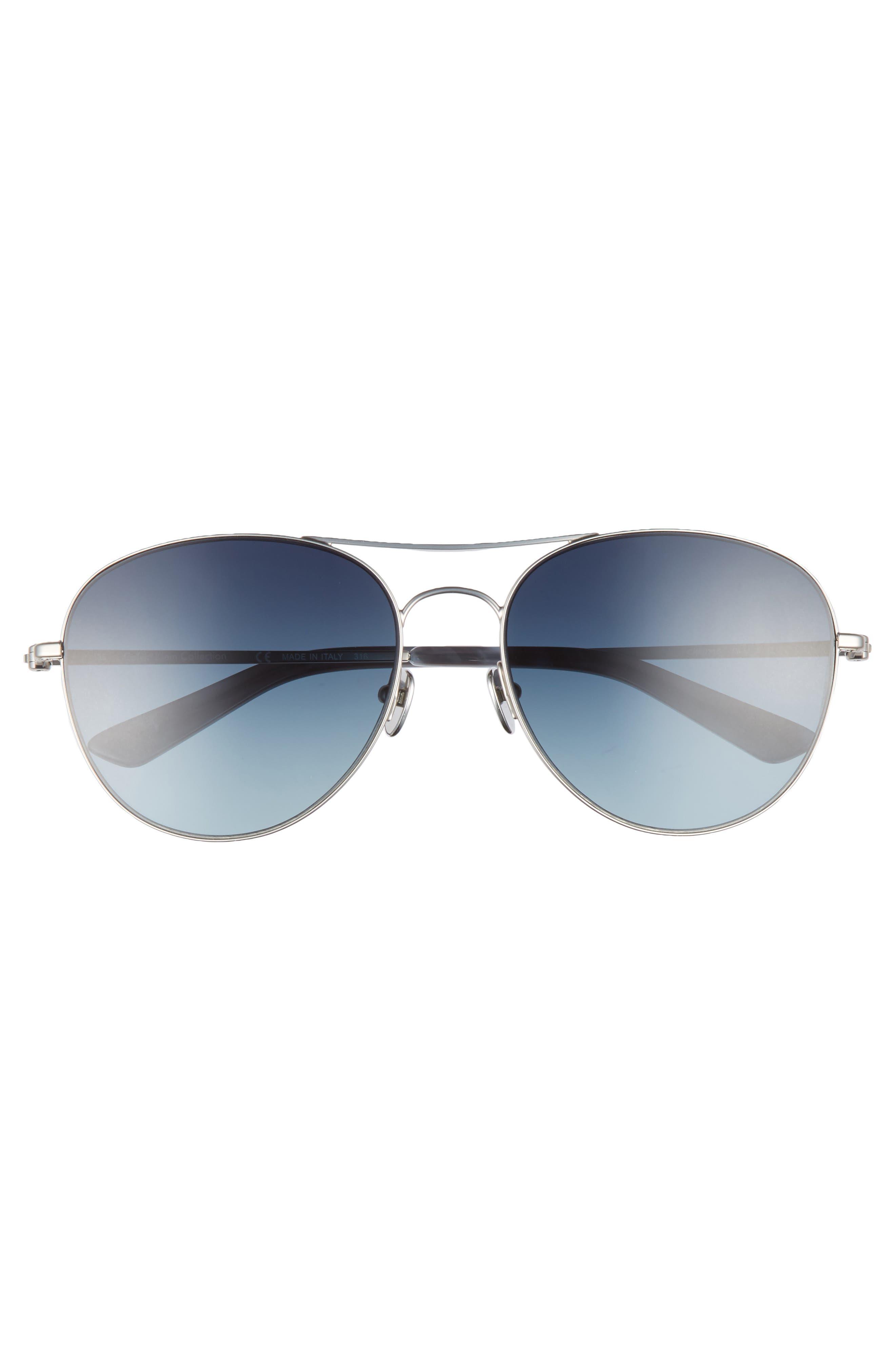 57mm Aviator Sunglasses,                             Alternate thumbnail 3, color,                             Satin Nickel