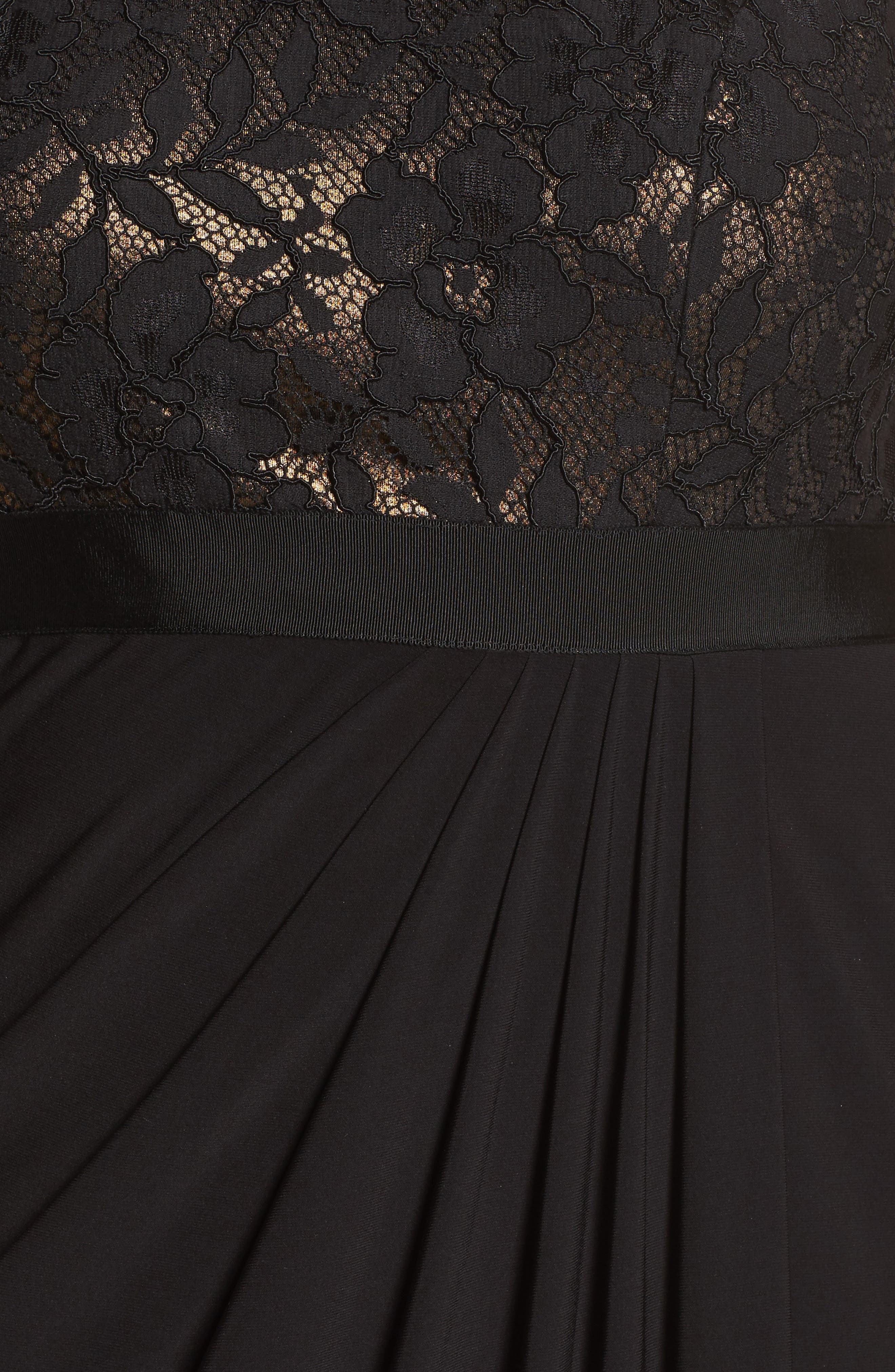 Metallic Lined Lace & Chiffon One-Shoulder Gown,                             Alternate thumbnail 5, color,                             Black/ Copper