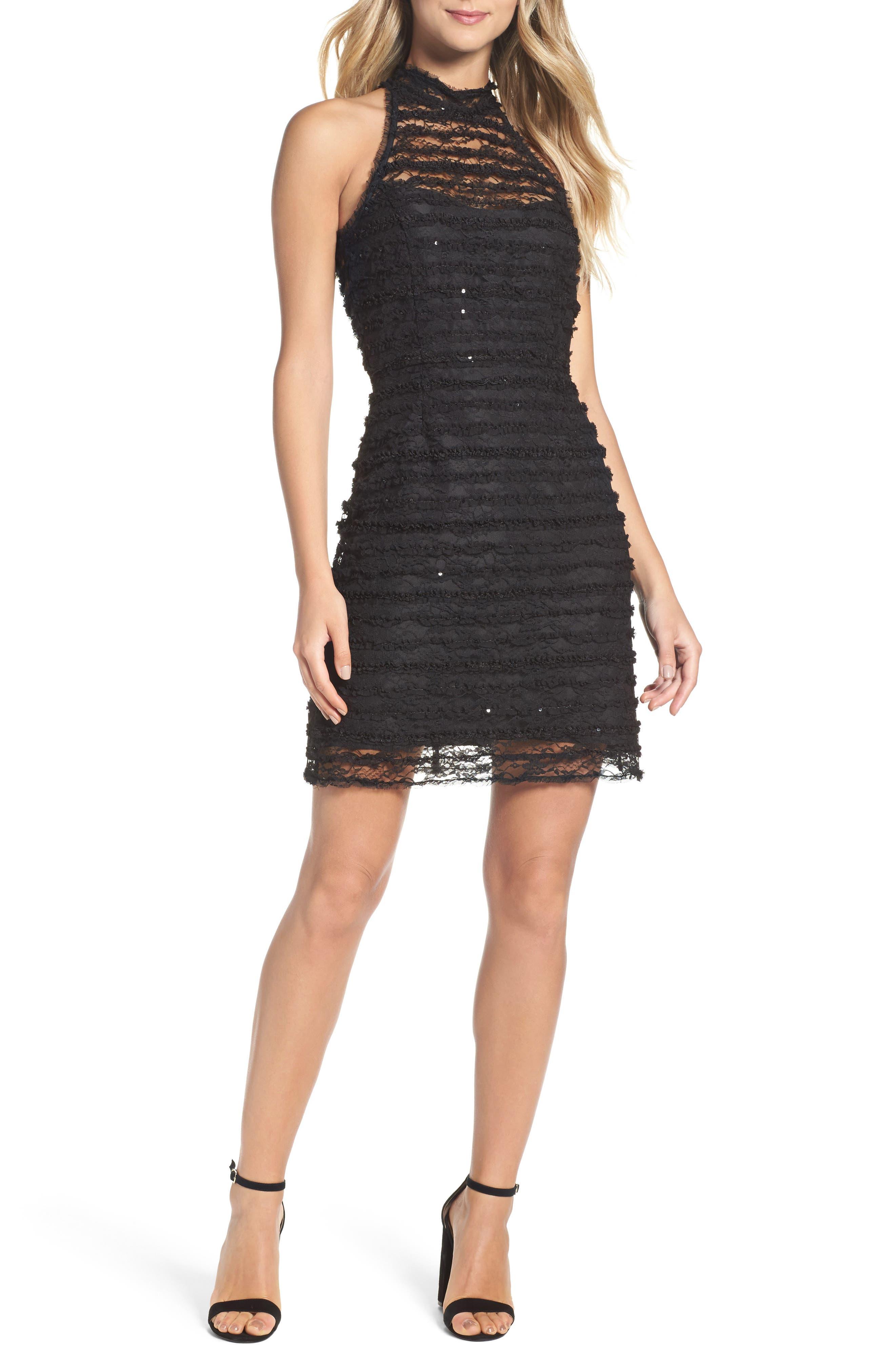 Surrey Lace Halter Sheath Dress,                         Main,                         color, Black
