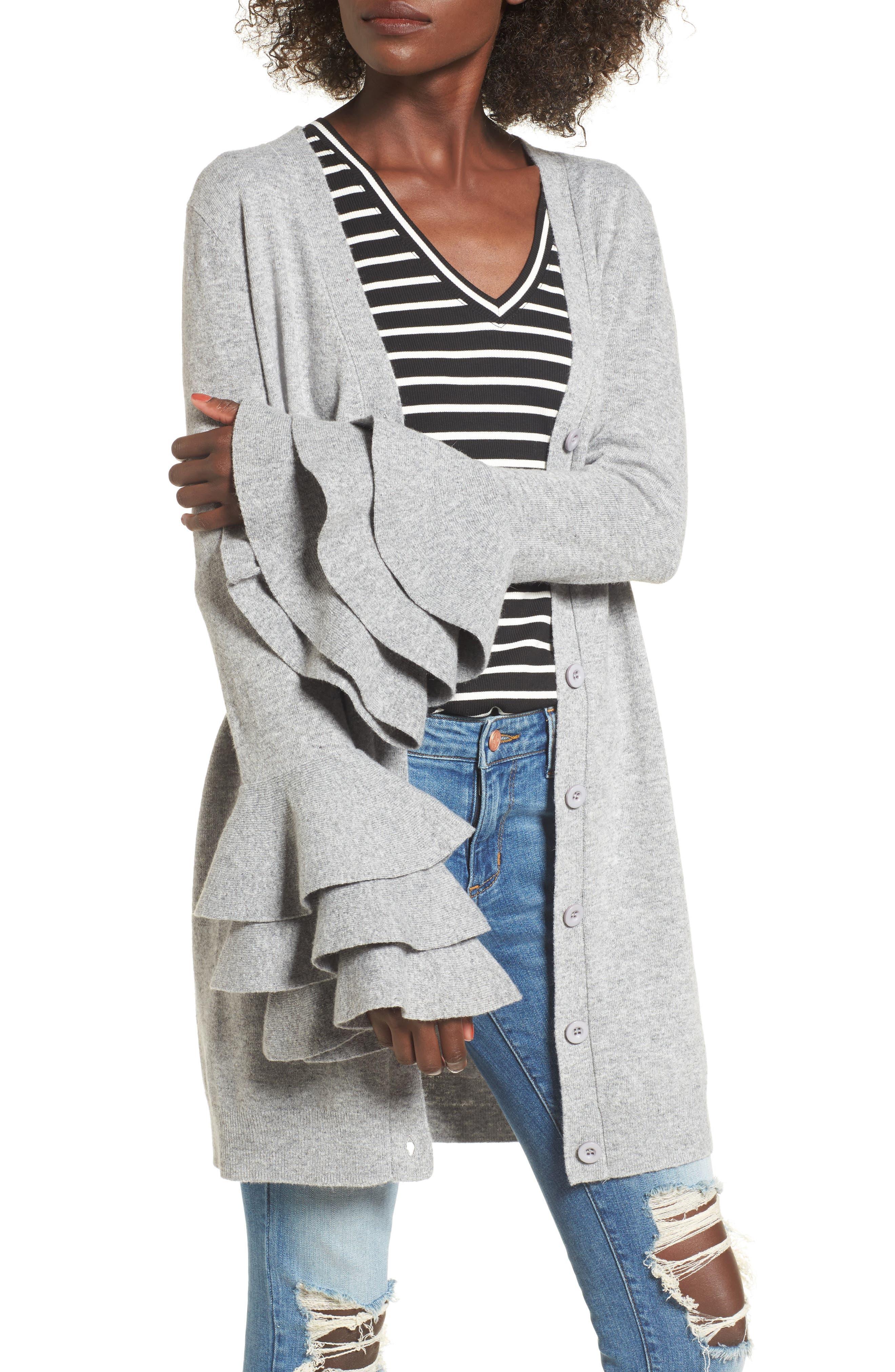 Ruffle Sleeve Longline Cardigan,                         Main,                         color, Grey
