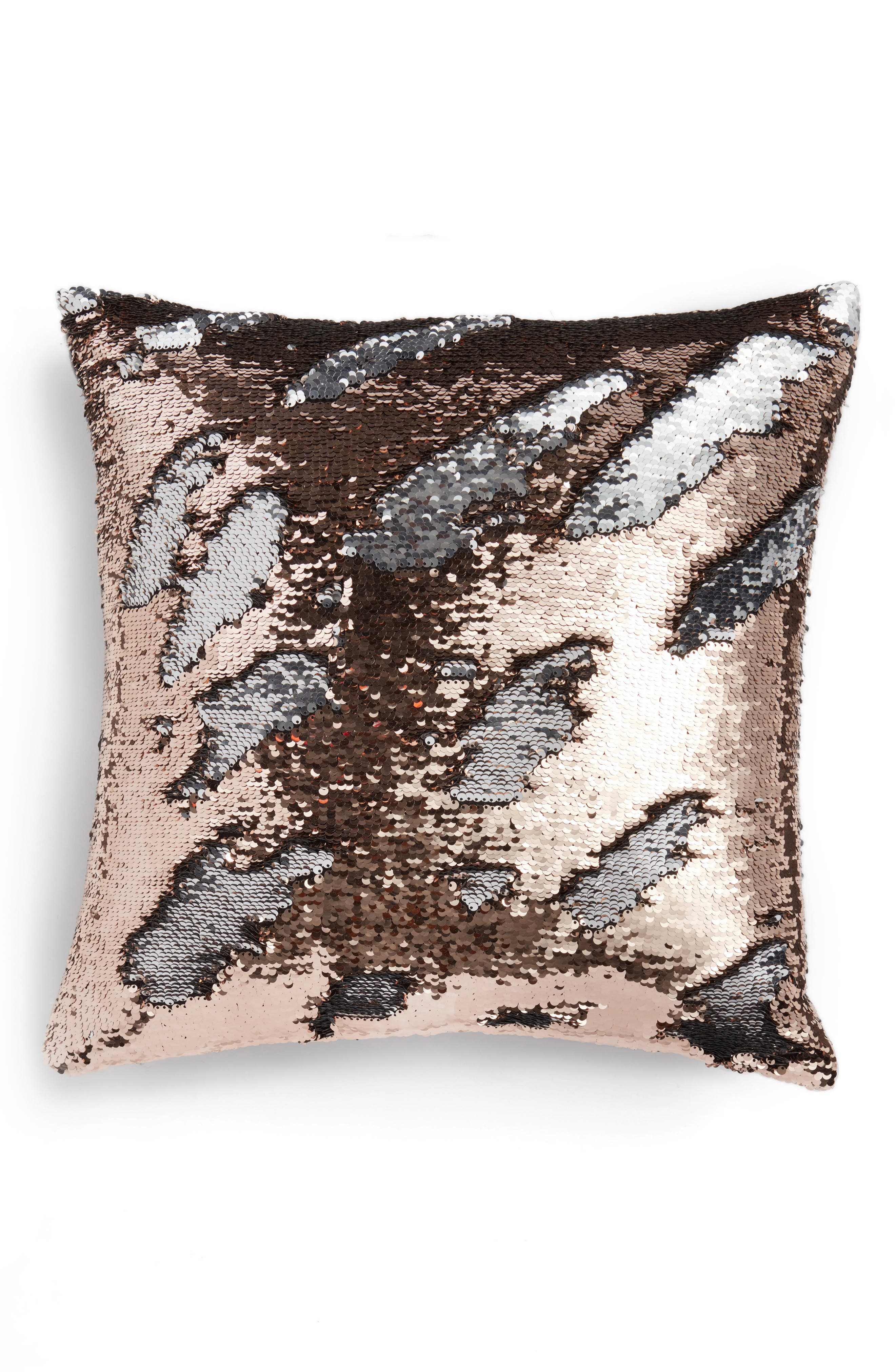 Sequin Pillow,                             Main thumbnail 1, color,                             Gold