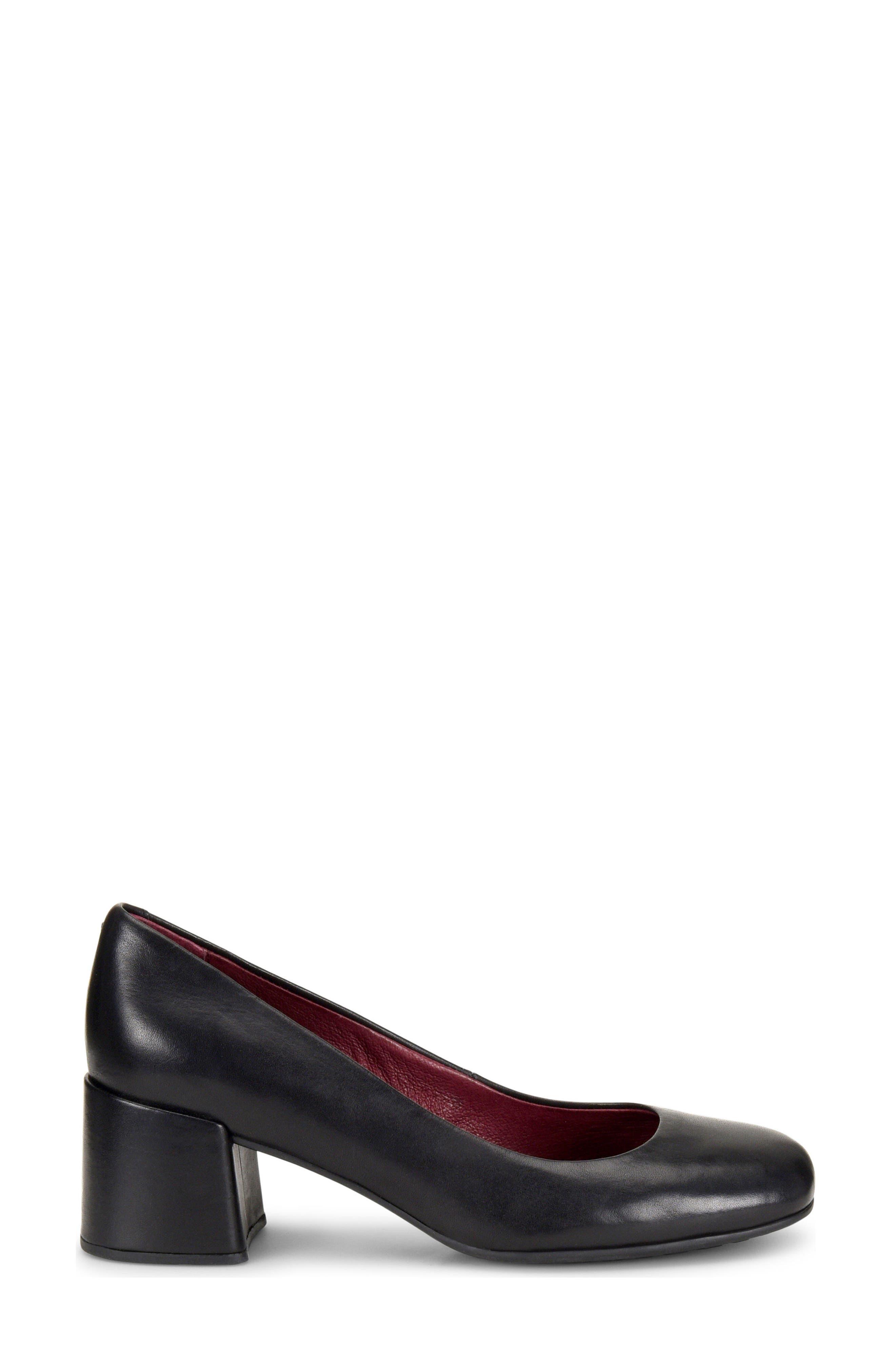 Magnolia Block Heel Pump,                             Alternate thumbnail 3, color,                             Black Leather
