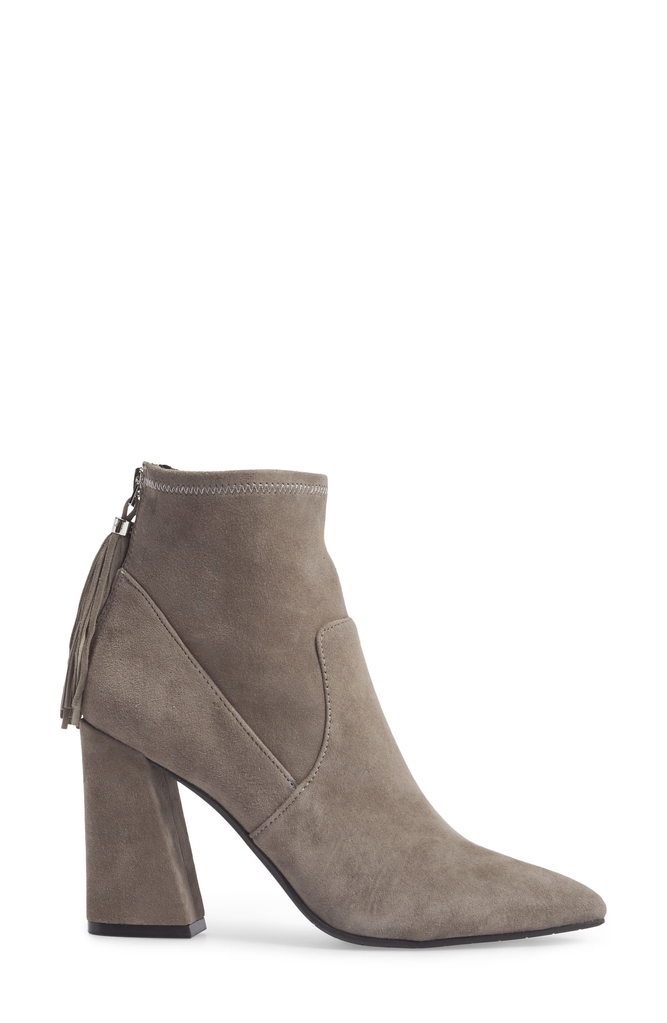 Gracelyn Pointy Toe Bootie,                             Alternate thumbnail 3, color,                             Elephant Suede