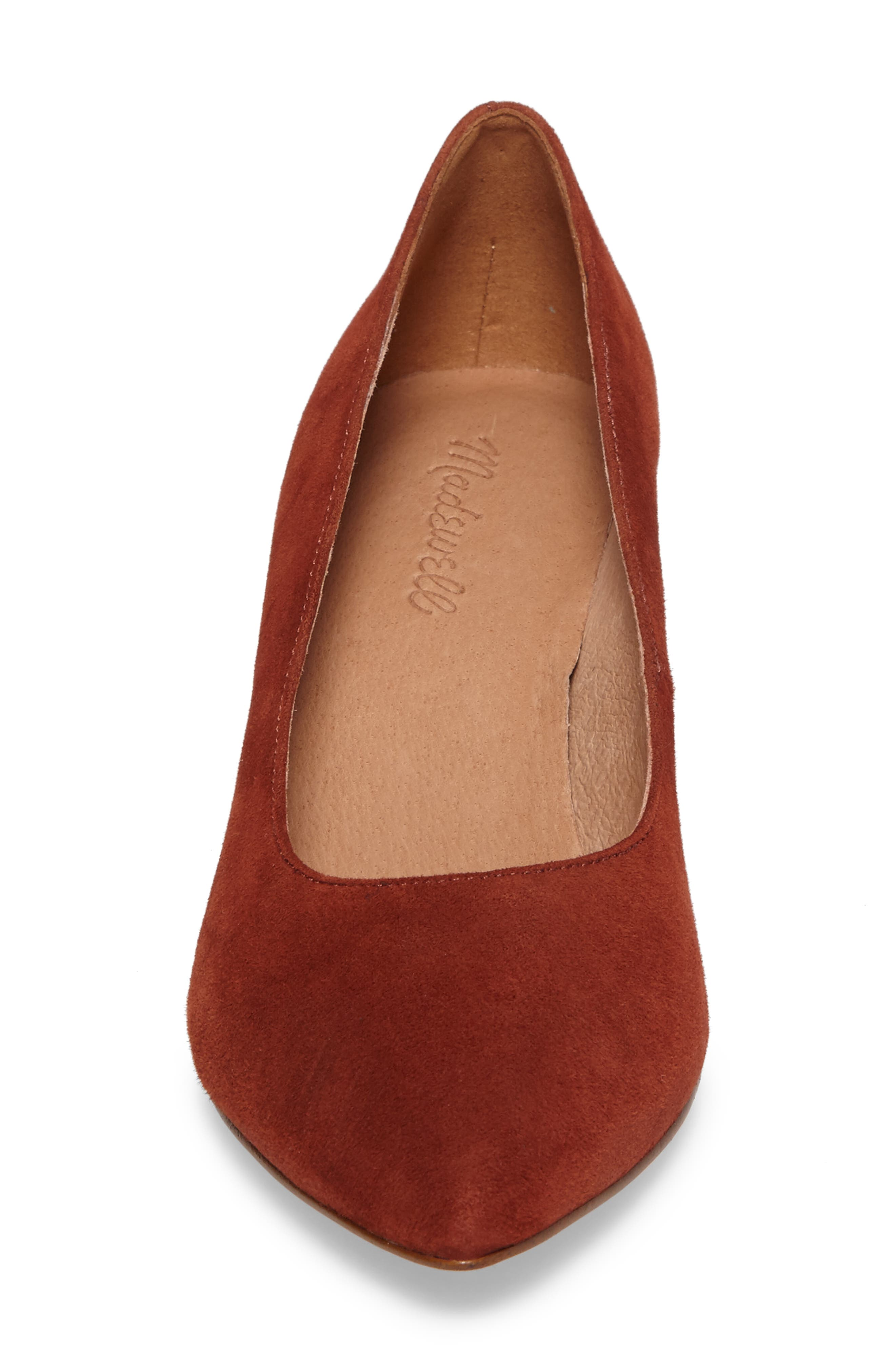 Rivka Pointy Toe Pump,                             Alternate thumbnail 4, color,                             Vintage Redwood Suede