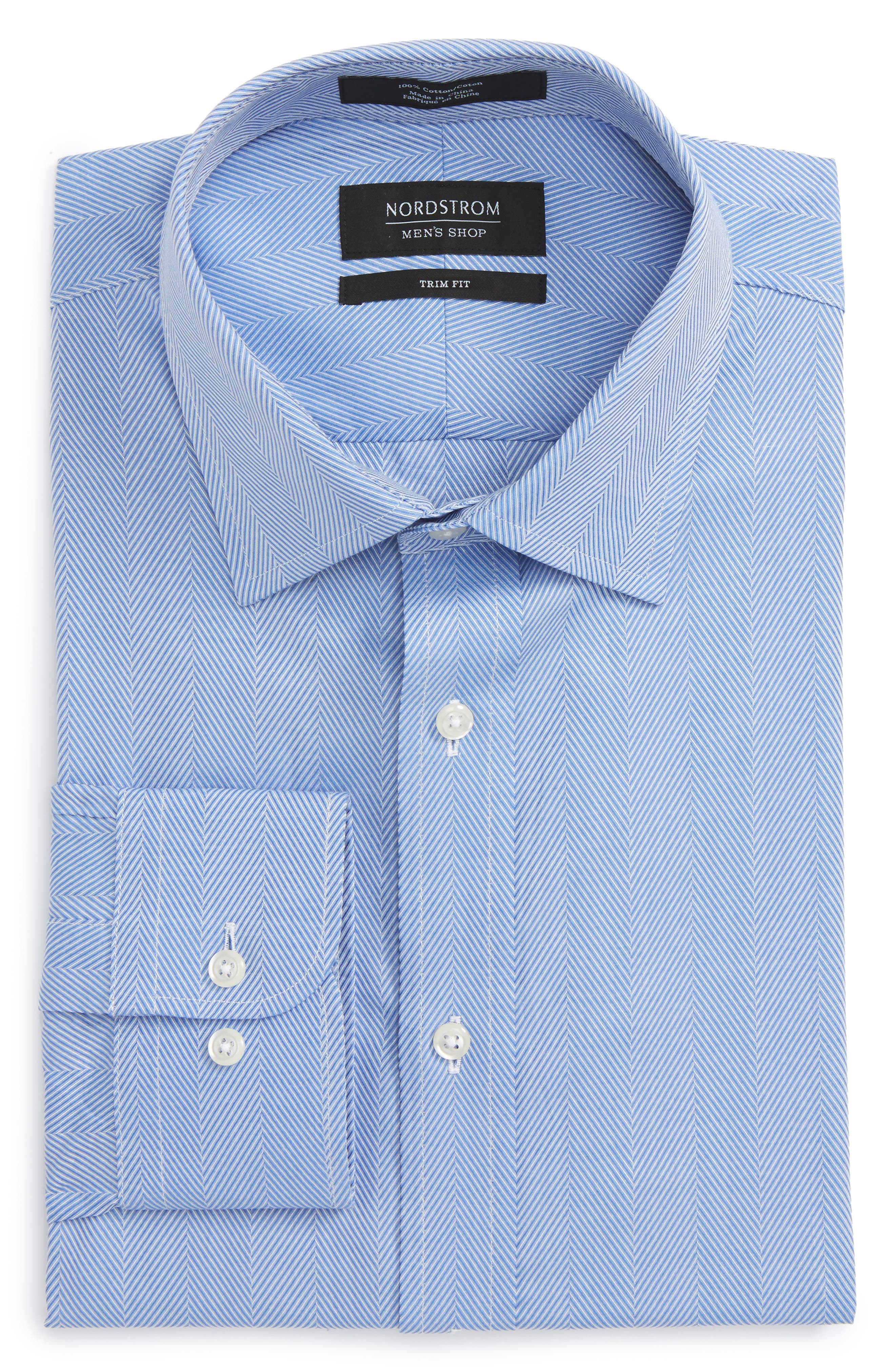 Trim Fit Herringbone Dress Shirt,                             Alternate thumbnail 6, color,                             Blue Provence