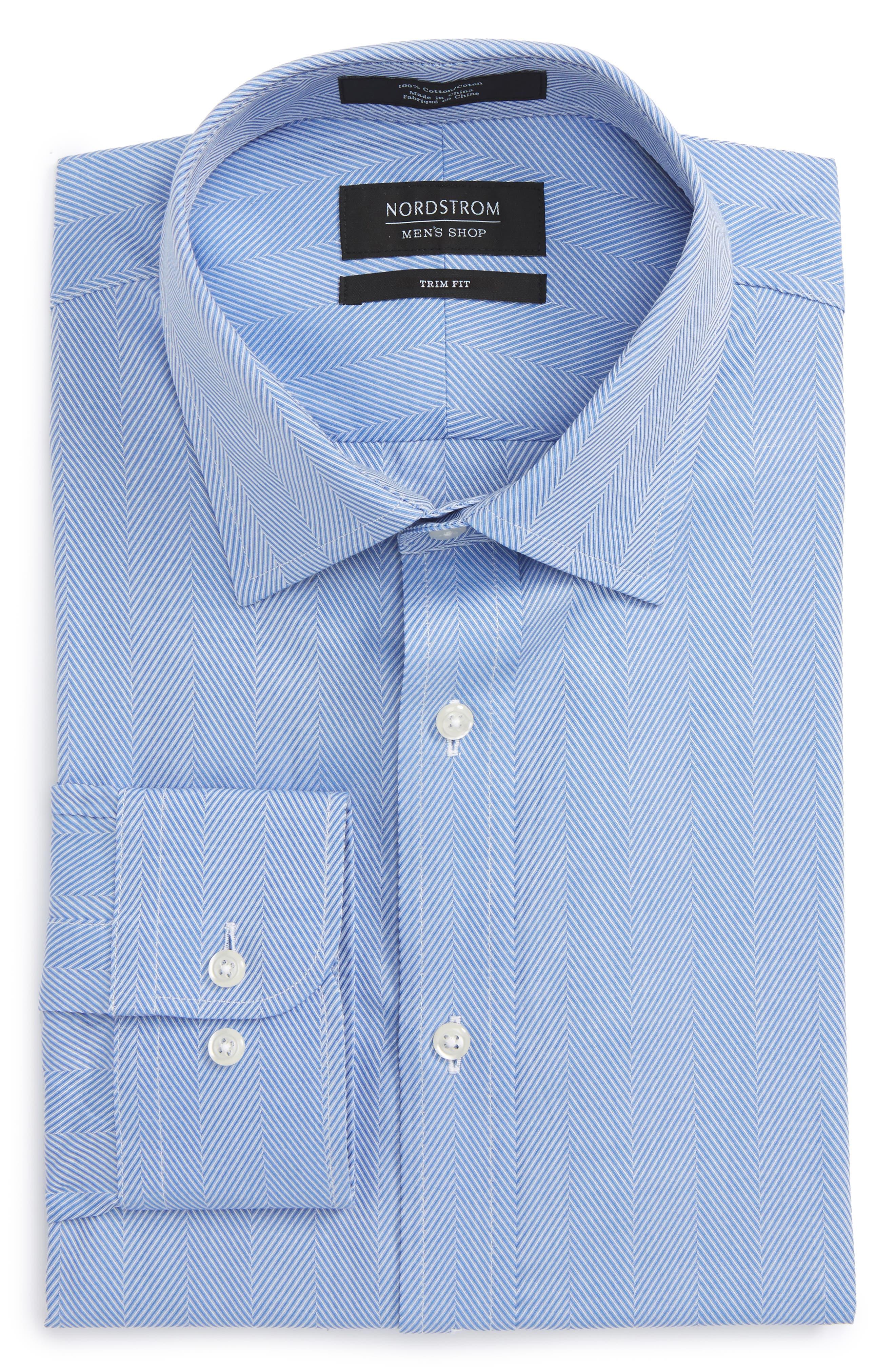 Nordstrom Men's Shop Trim Fit Herringbone Dress Shirt