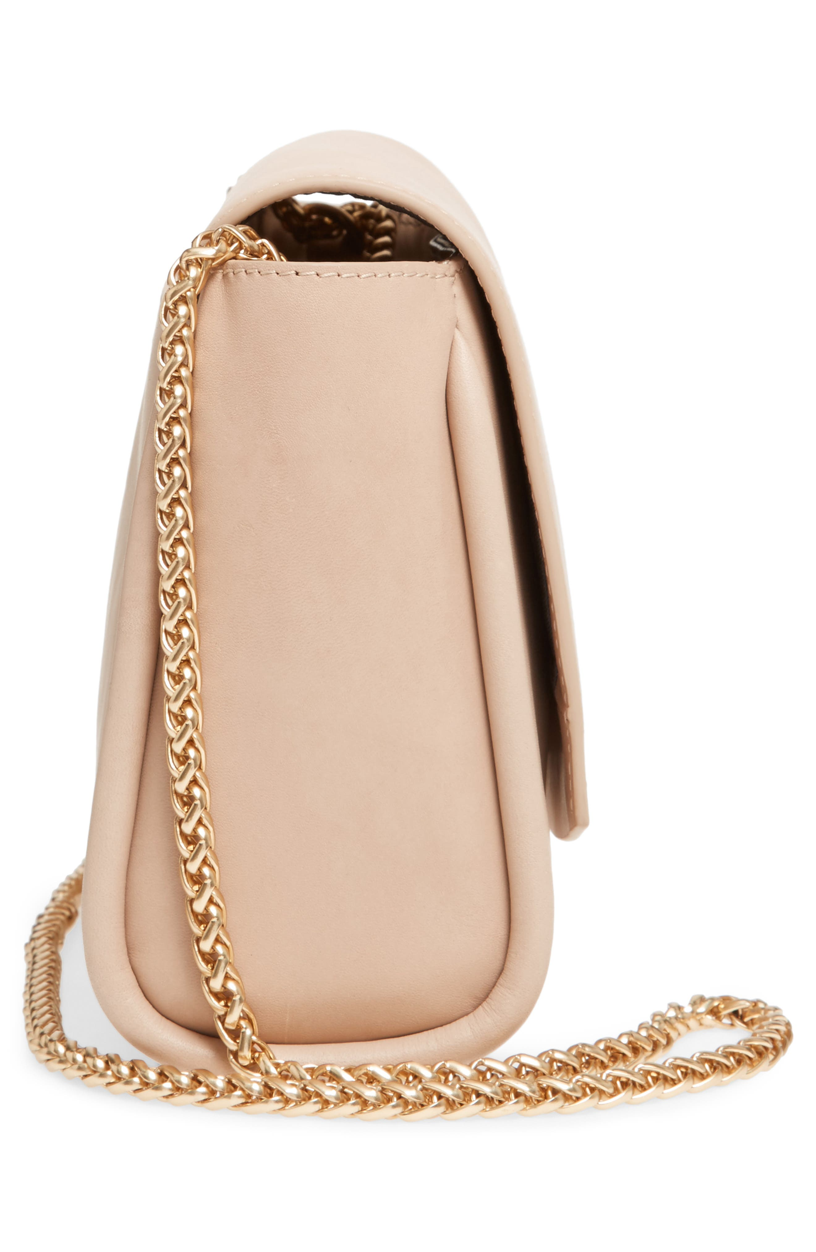 Sylvi Calfskin Leather Crossbody Bag,                             Alternate thumbnail 4, color,                             Beige
