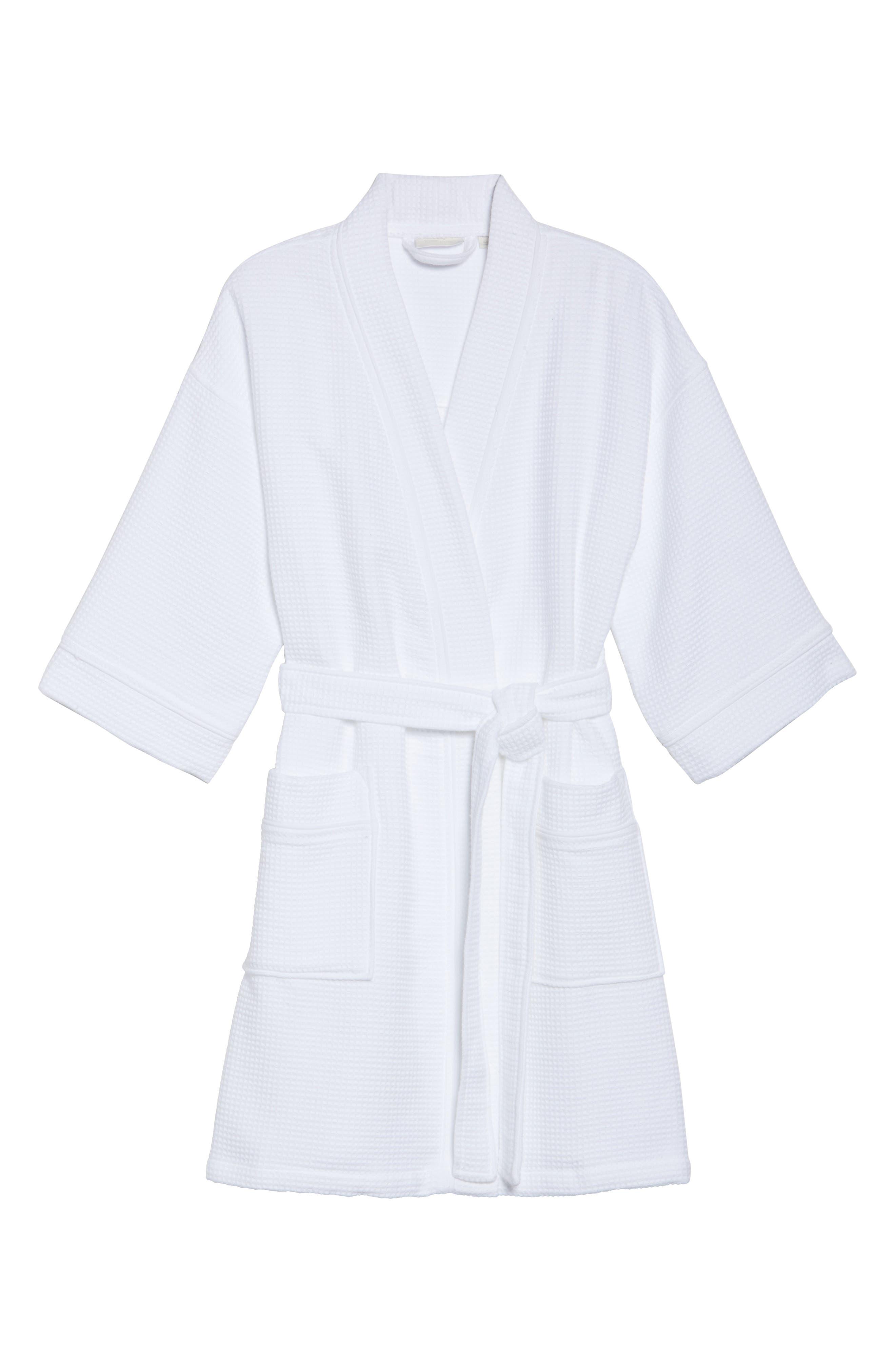 Waffle Knit Short Robe,                             Alternate thumbnail 6, color,                             White