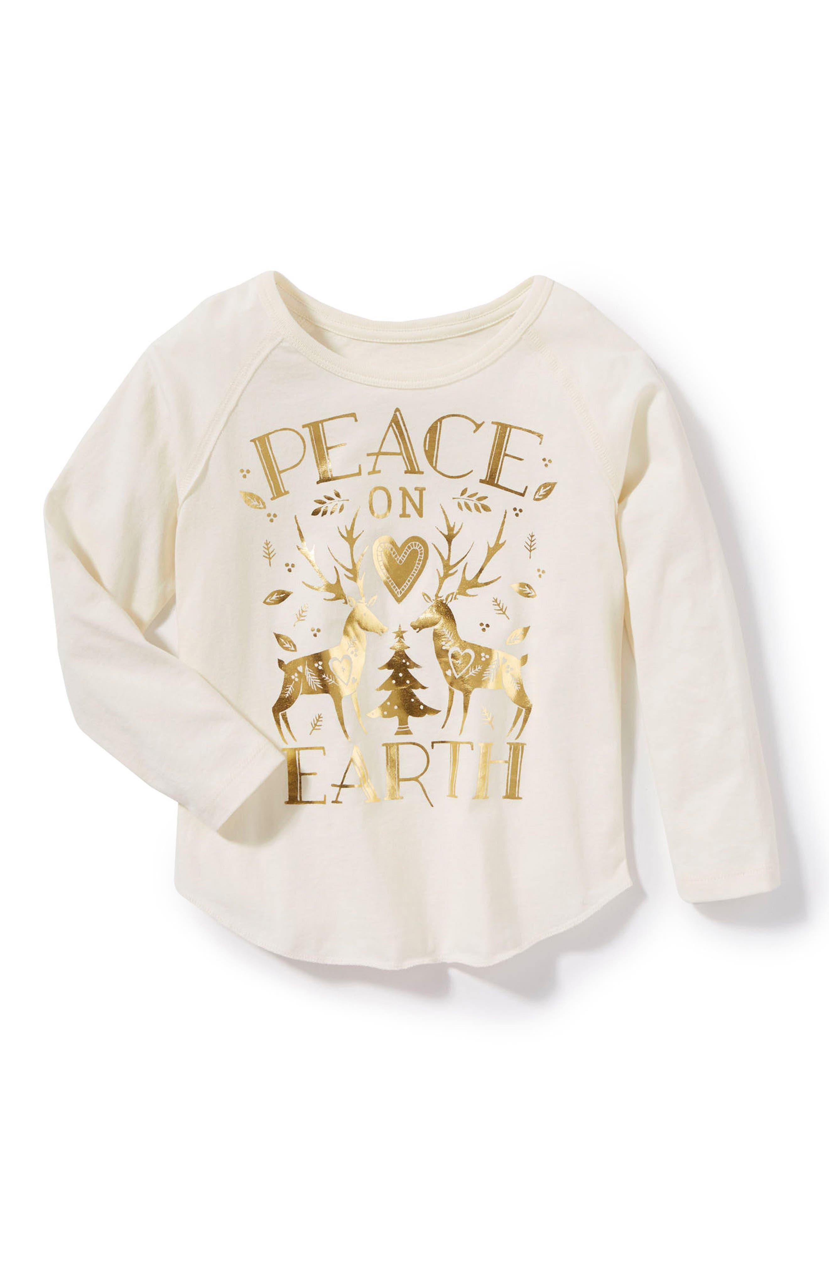 Alternate Image 1 Selected - Peek Peace on Earth Foil Print Tee (Toddler Girls, Little Girls & Big Girls)