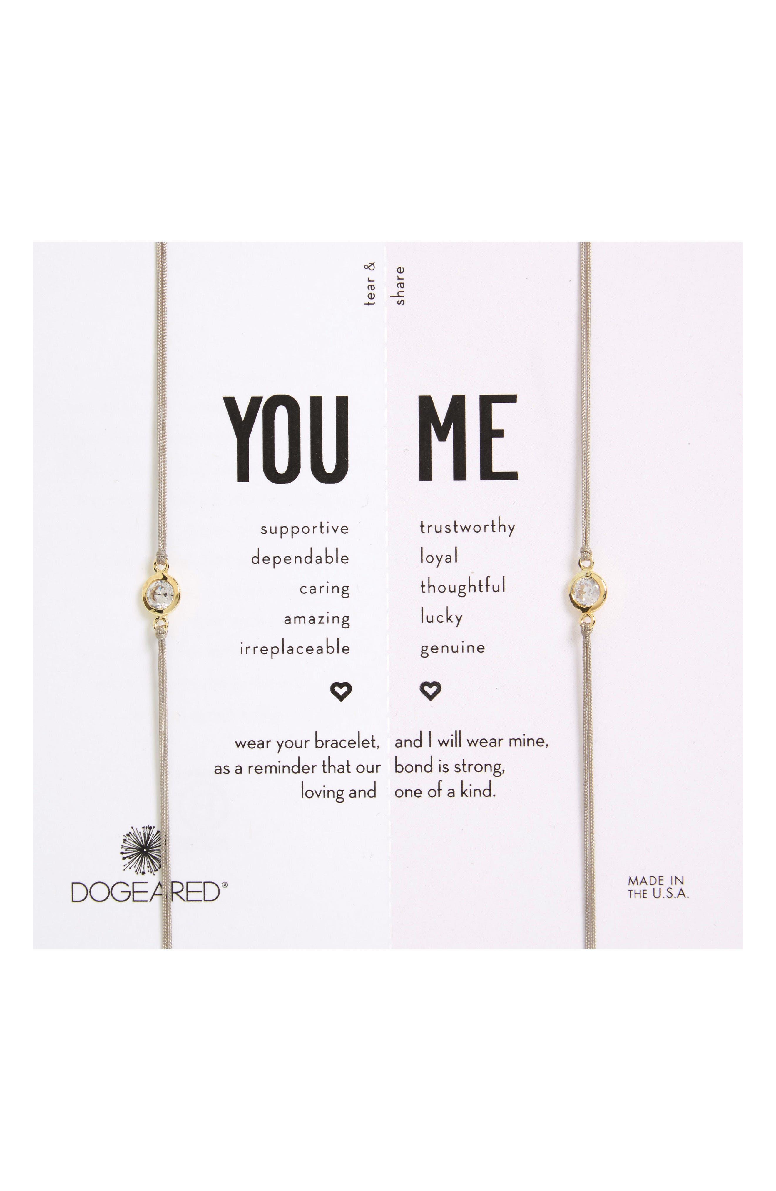 Alternate Image 1 Selected - Dogeared You & Me Set of 2 Crystal Charm Friendship Bracelets