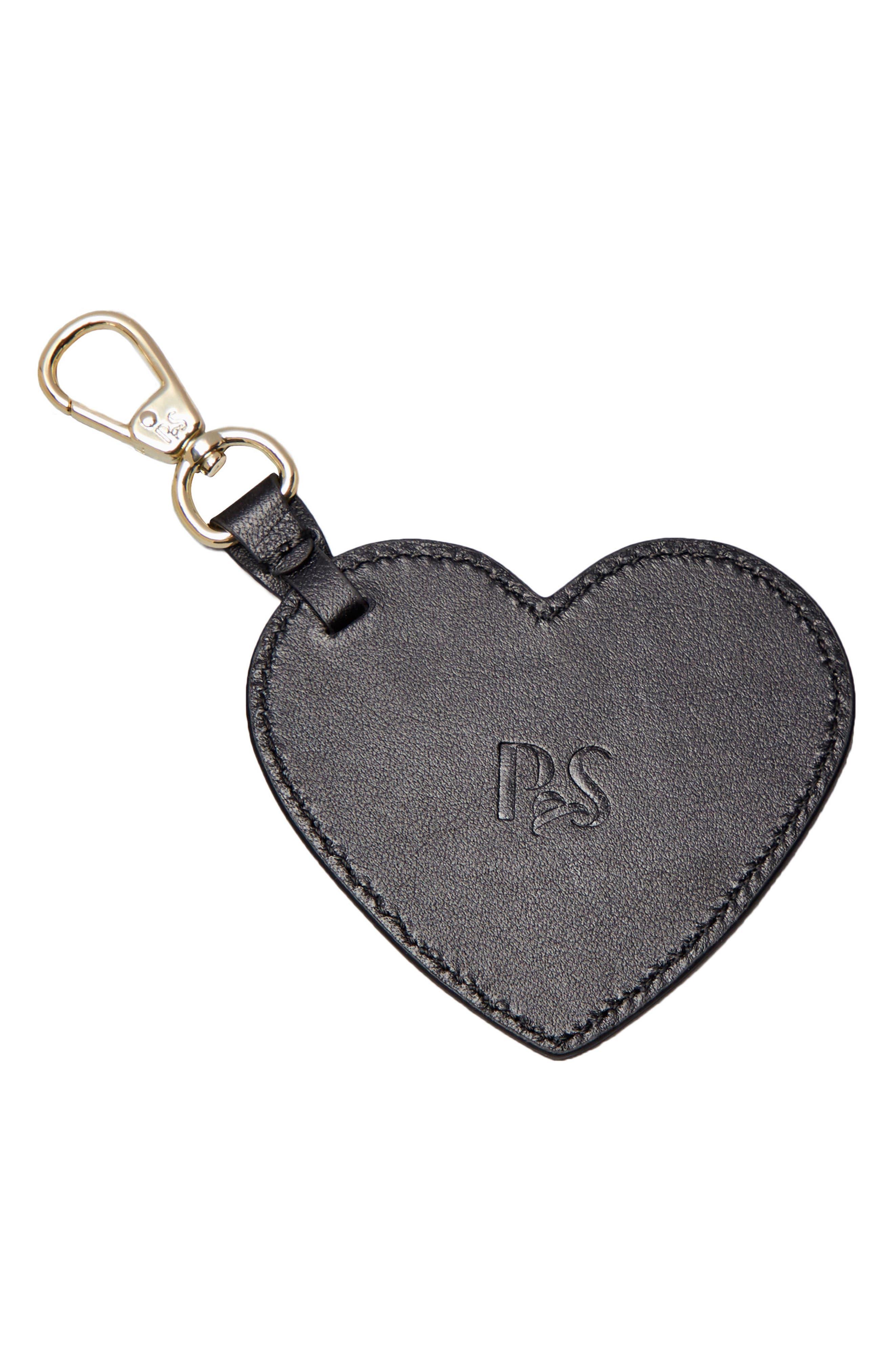 Smaller Heart Personalized Bag Charm,                             Alternate thumbnail 2, color,                             Noir/ White
