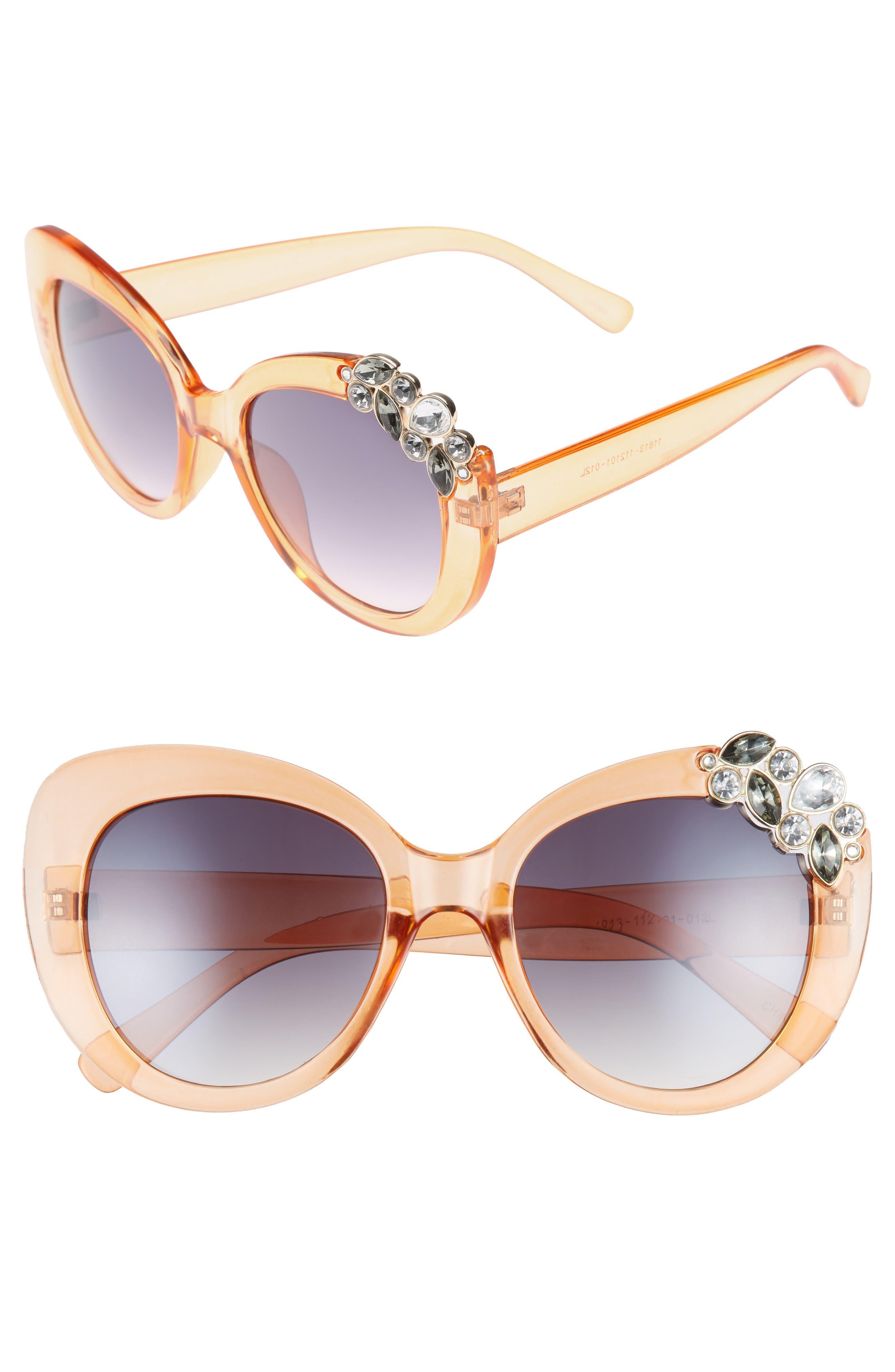 Crystal Cat Eye Sunglasses,                         Main,                         color, Peach