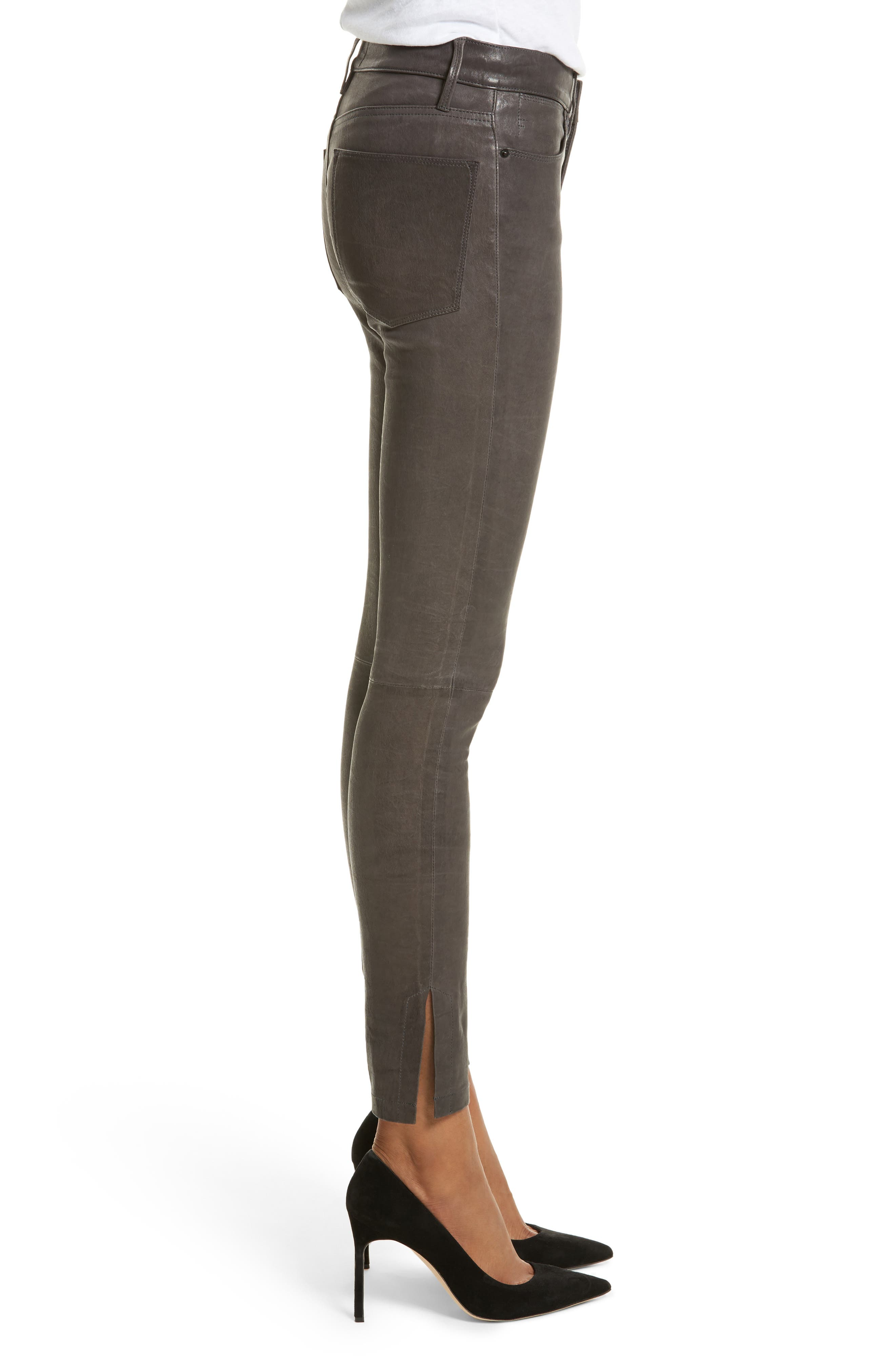 Le High Skinny Slit Leather Pants,                             Alternate thumbnail 3, color,                             Charcoal
