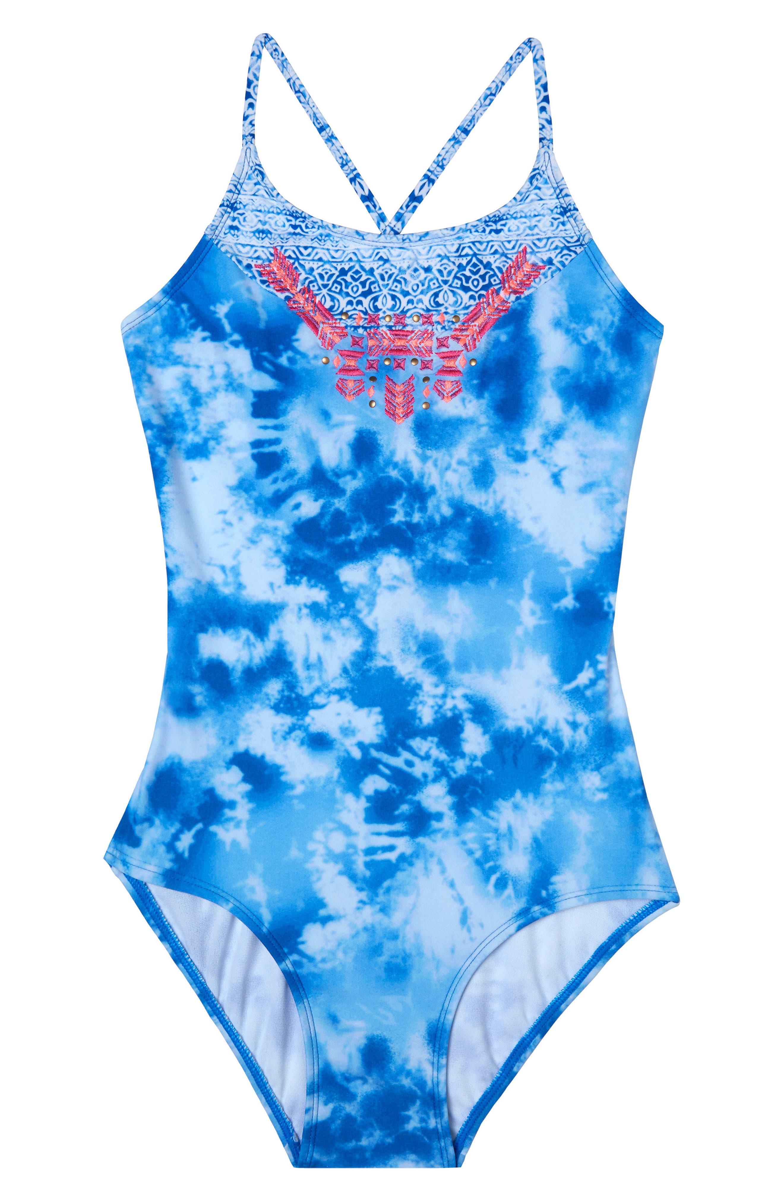 Jeans Addiction One-Piece Swimsuit,                         Main,                         color, Blue