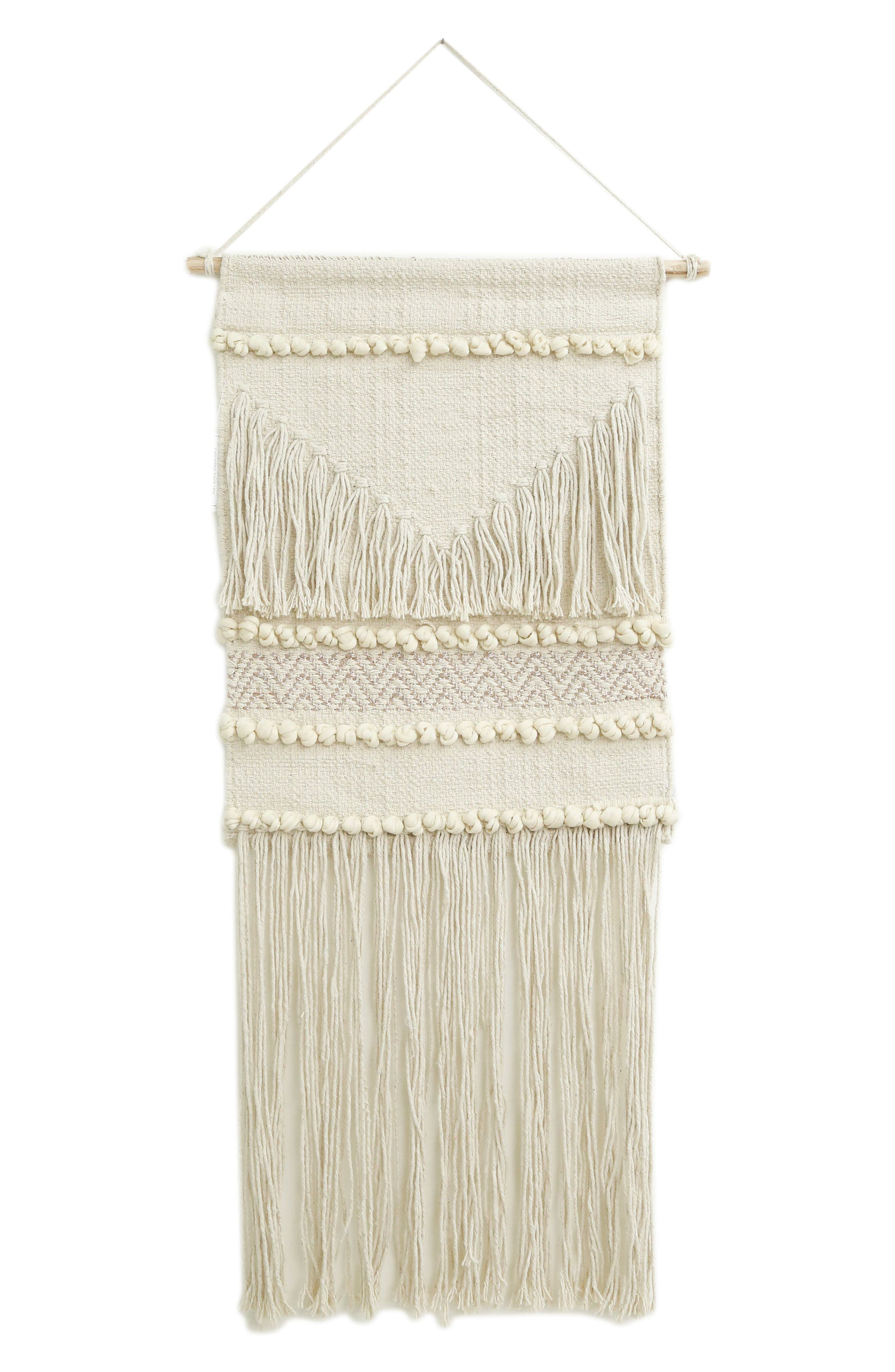 Aya Handwoven Wall Hanging,                             Main thumbnail 1, color,                             Ivory/Gold