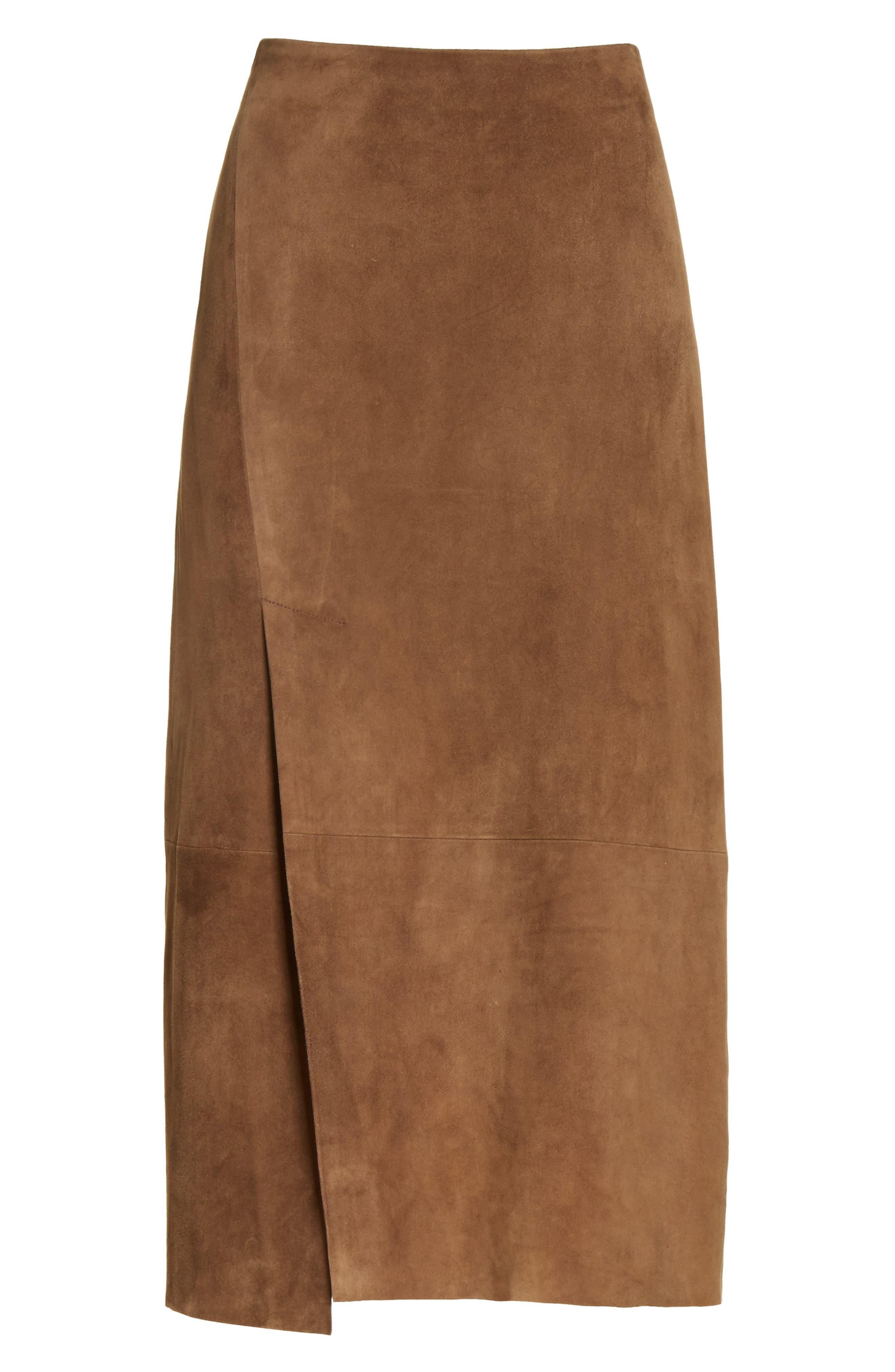 Suede Slit Skirt,                             Alternate thumbnail 6, color,                             Dark Taupe