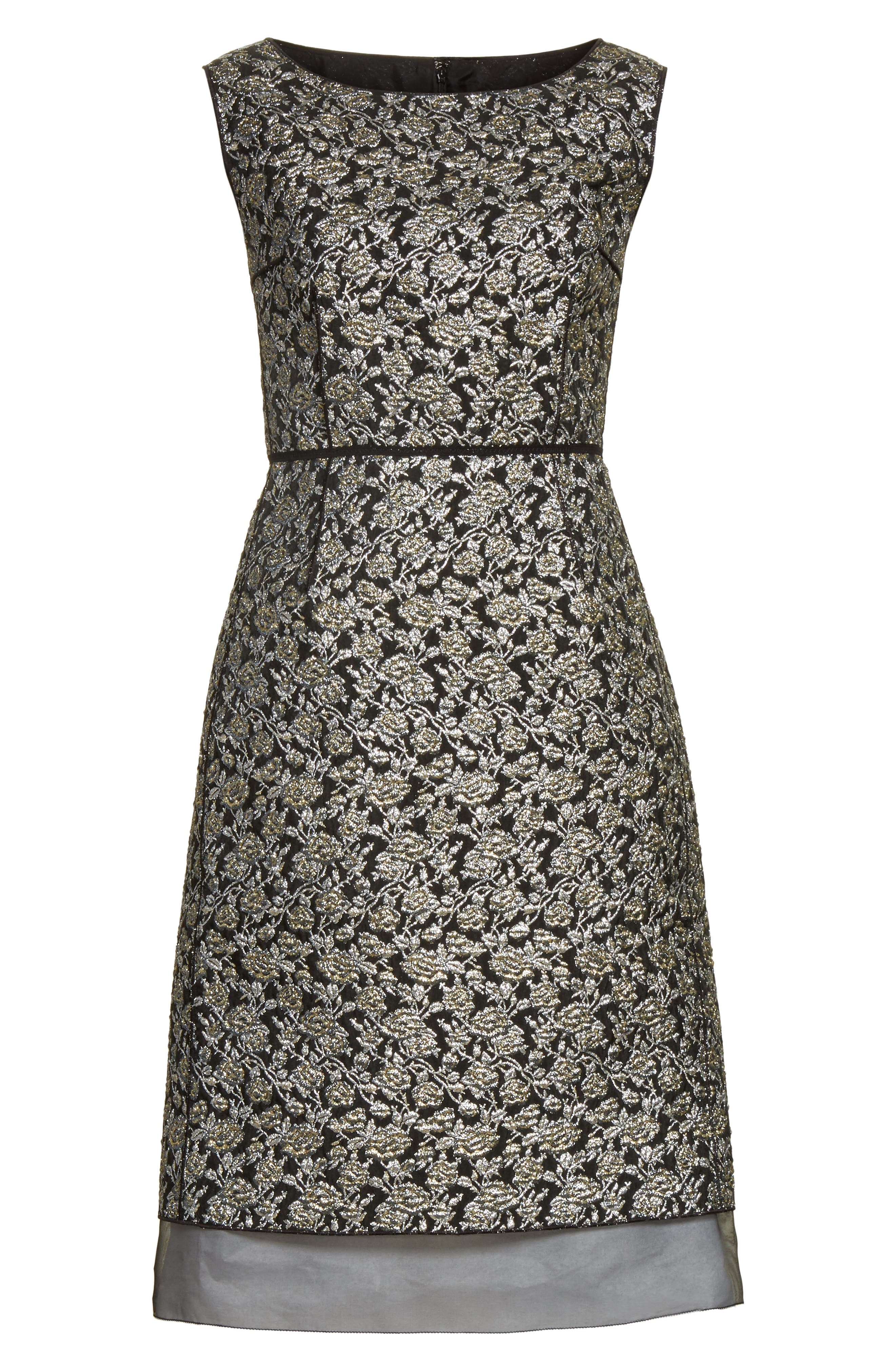 Metallic Jacquard Sheath Dress,                             Alternate thumbnail 6, color,                             Gold Multi