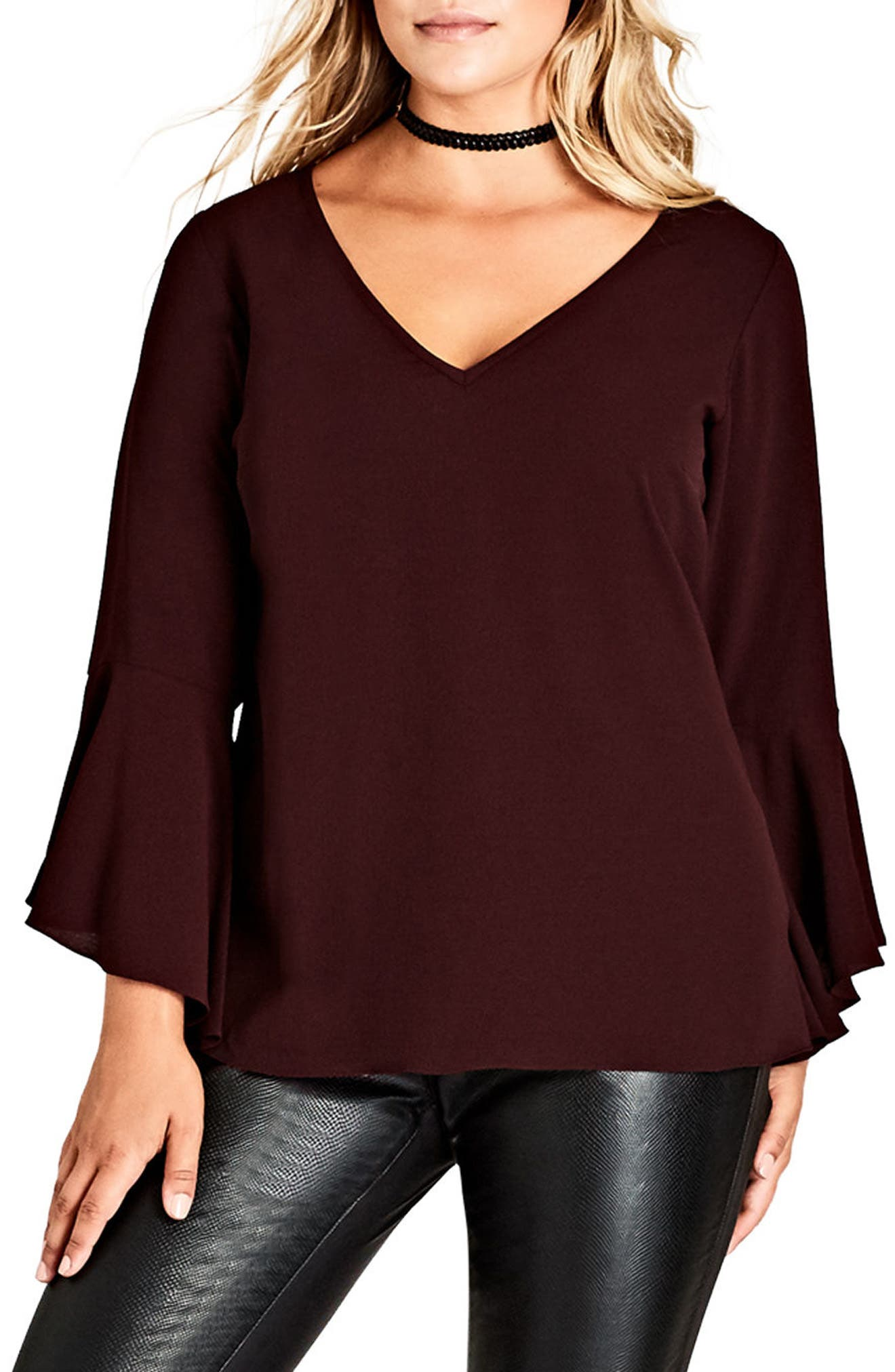 City Chic Bell Sleeve Top (Plus Size)