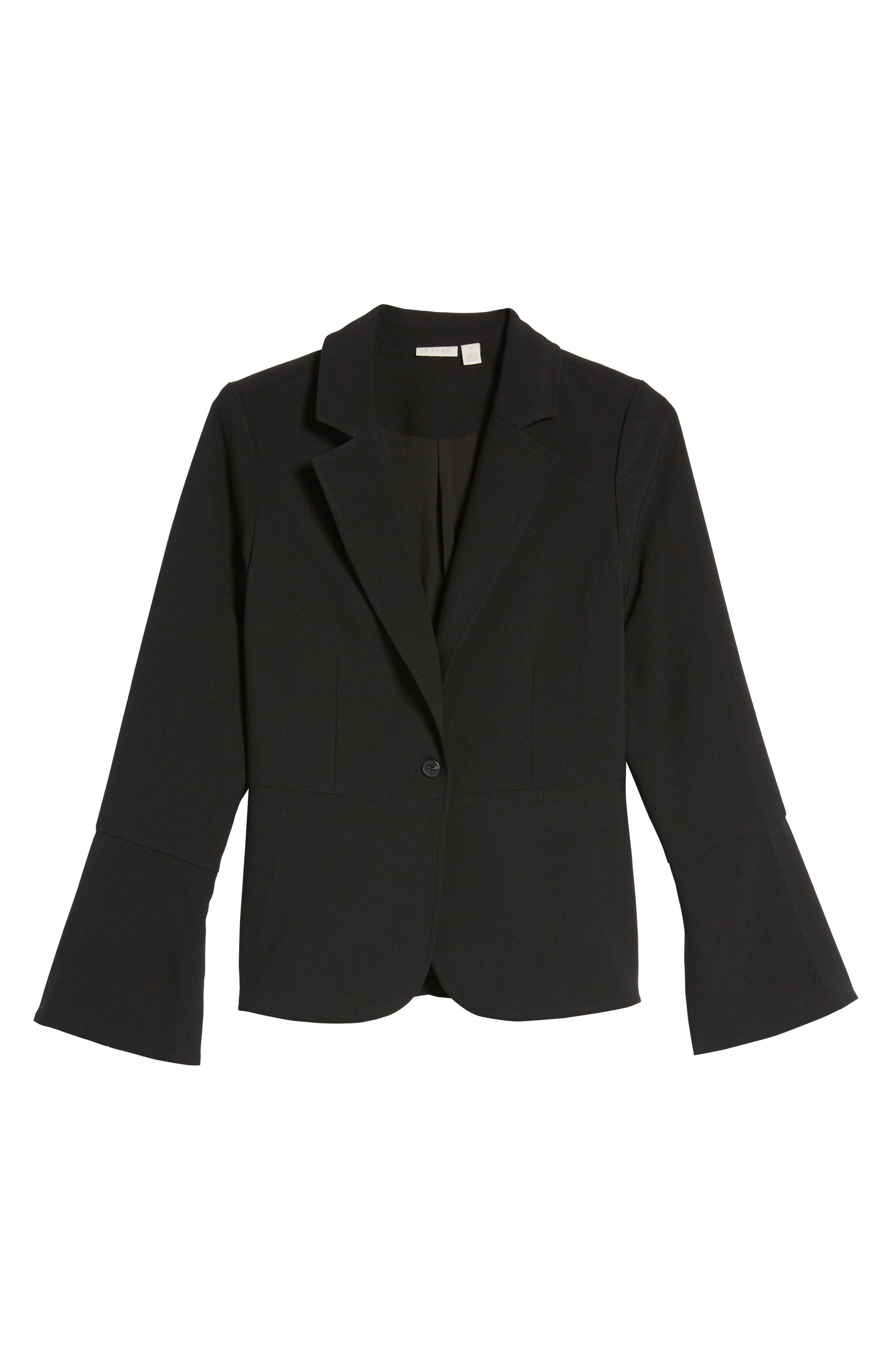 Wide Cuff Blazer,                             Alternate thumbnail 6, color,                             Black