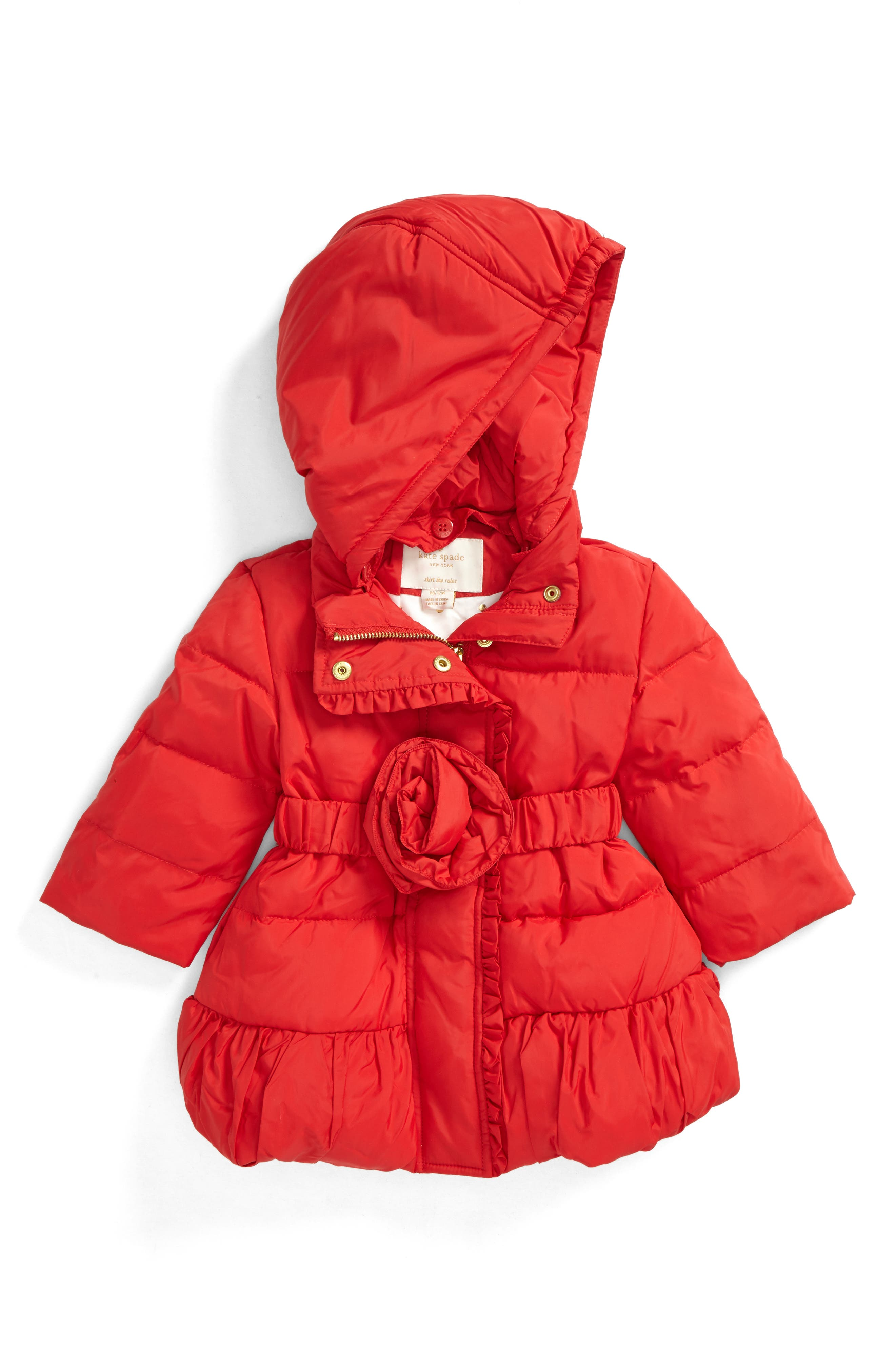 rosette puffer jacket,                         Main,                         color, Studio Red