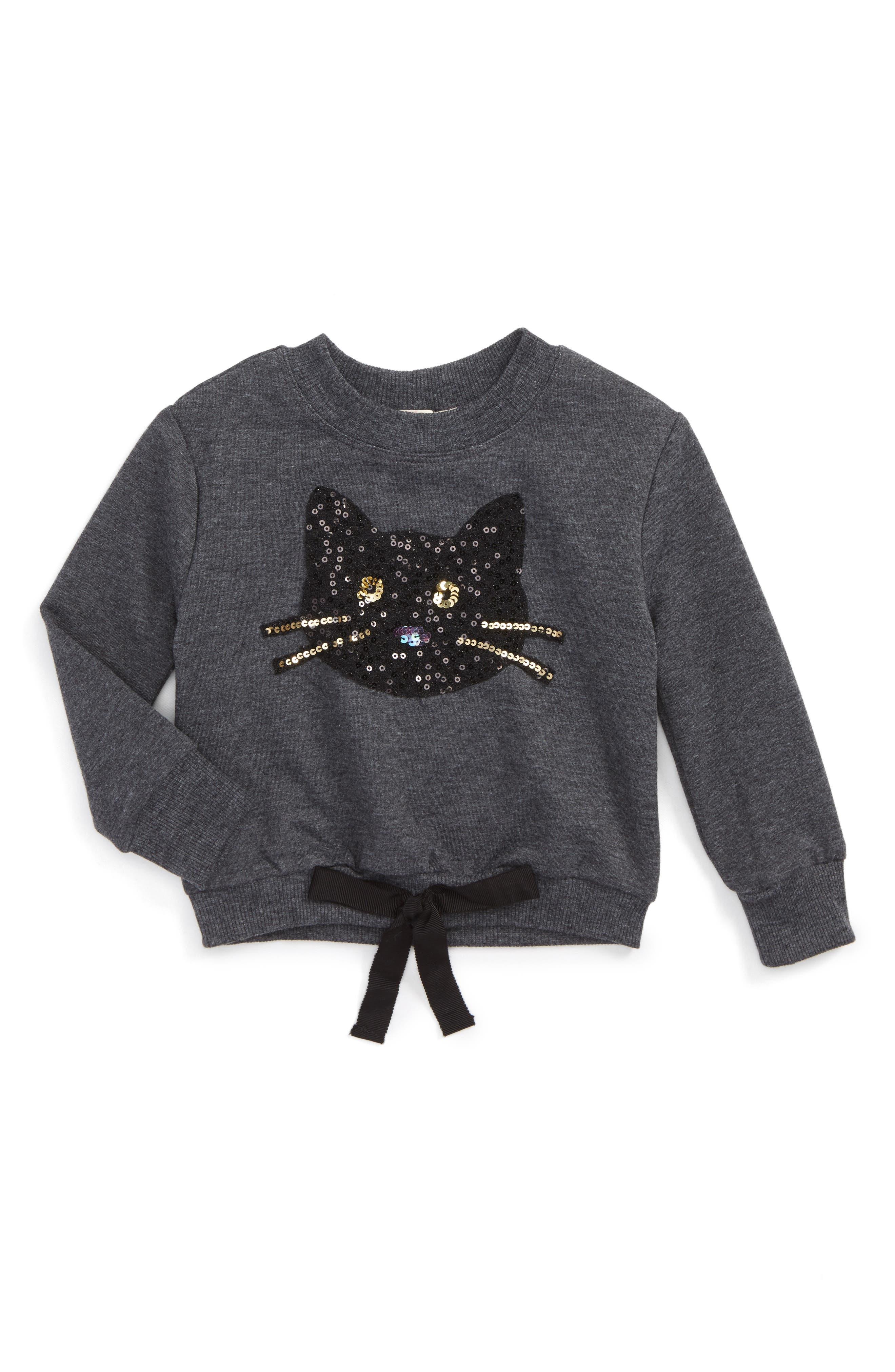 Sequin Kitty Sweatshirt,                         Main,                         color, Charcoal