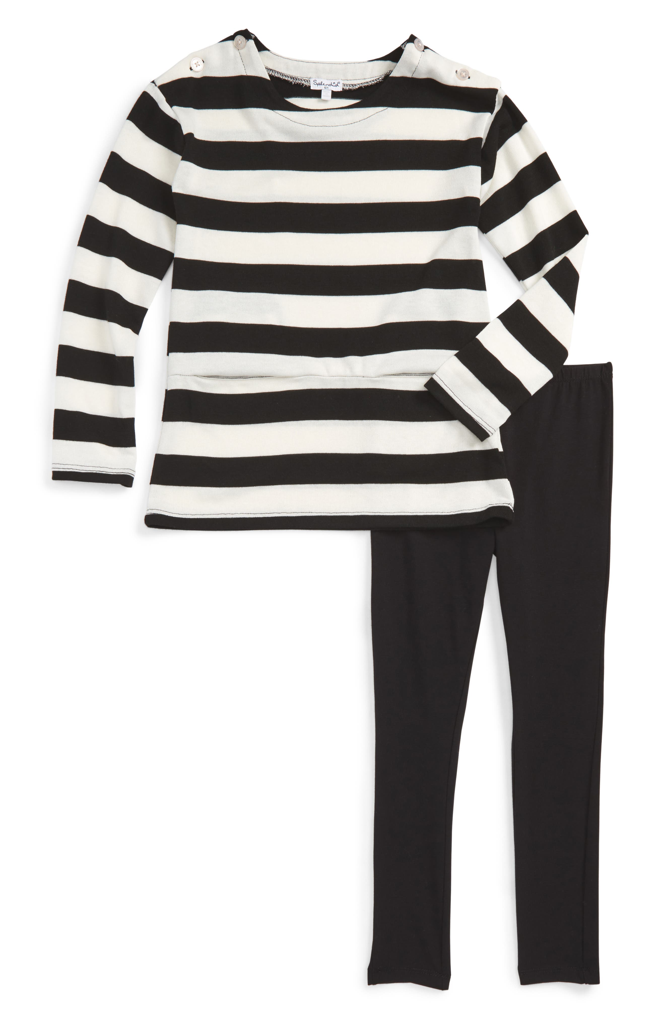Splendid Stripe Blouson Top & Leggings Set (Toddler Girls & Little Girls)