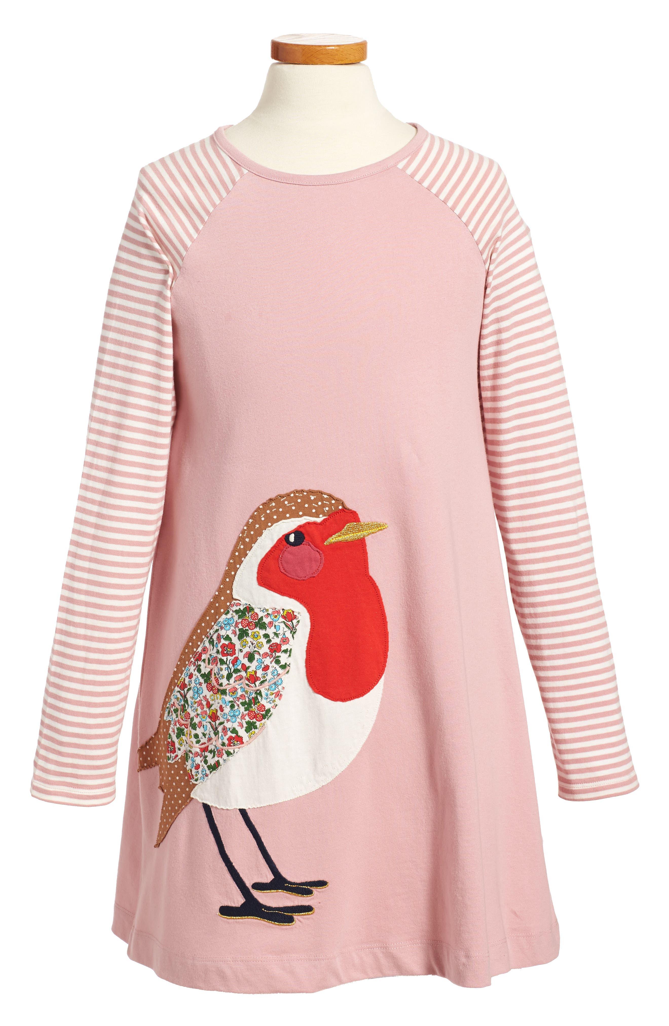 Big Appliqué Jersey Dress,                             Main thumbnail 1, color,                             Vintage Pink Robin