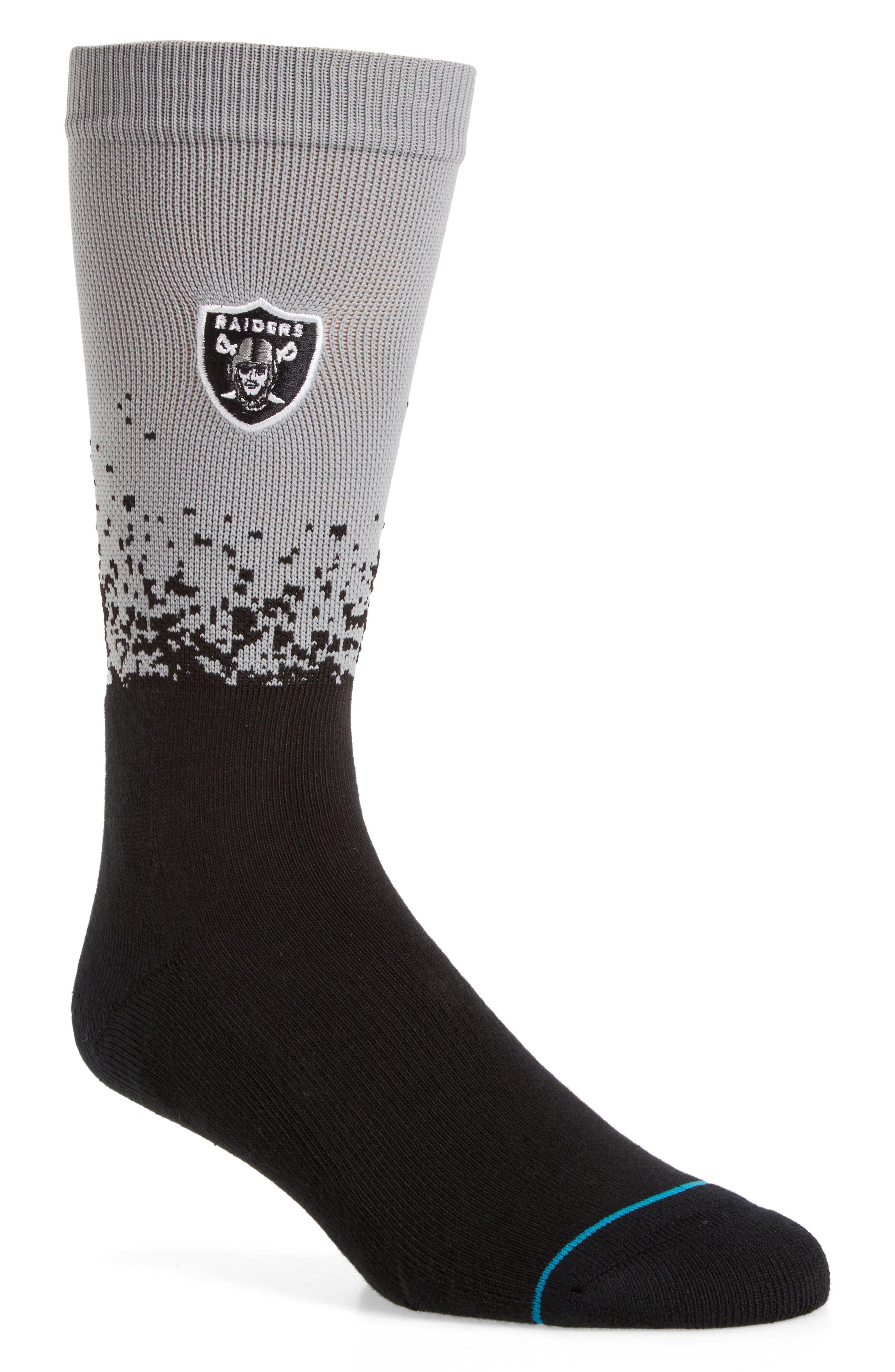 Oakland Raiders - Fade Socks,                             Main thumbnail 1, color,                             Black