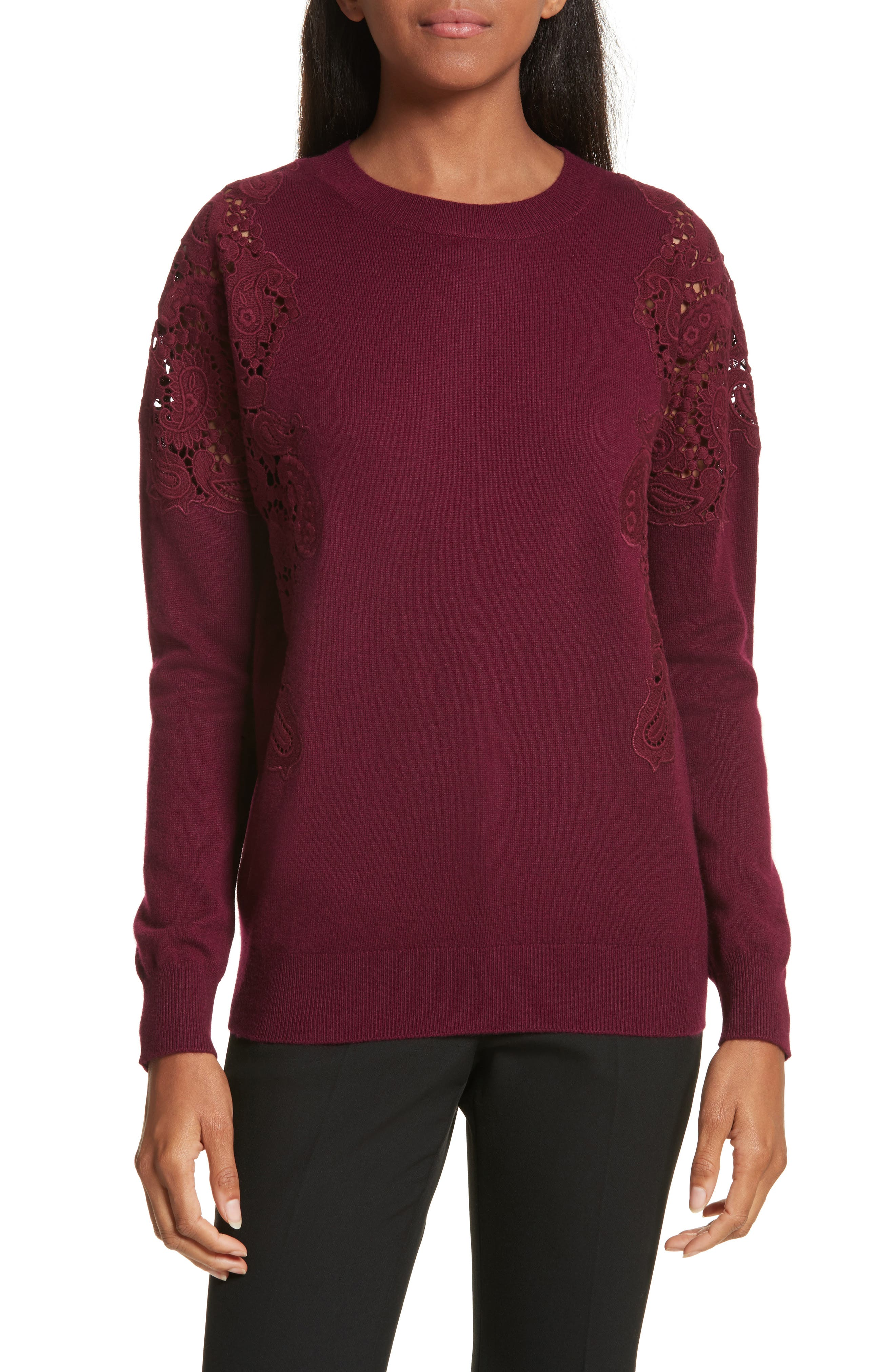 Main Image - Ted Baker London Tae Lace Shoulder Sweater