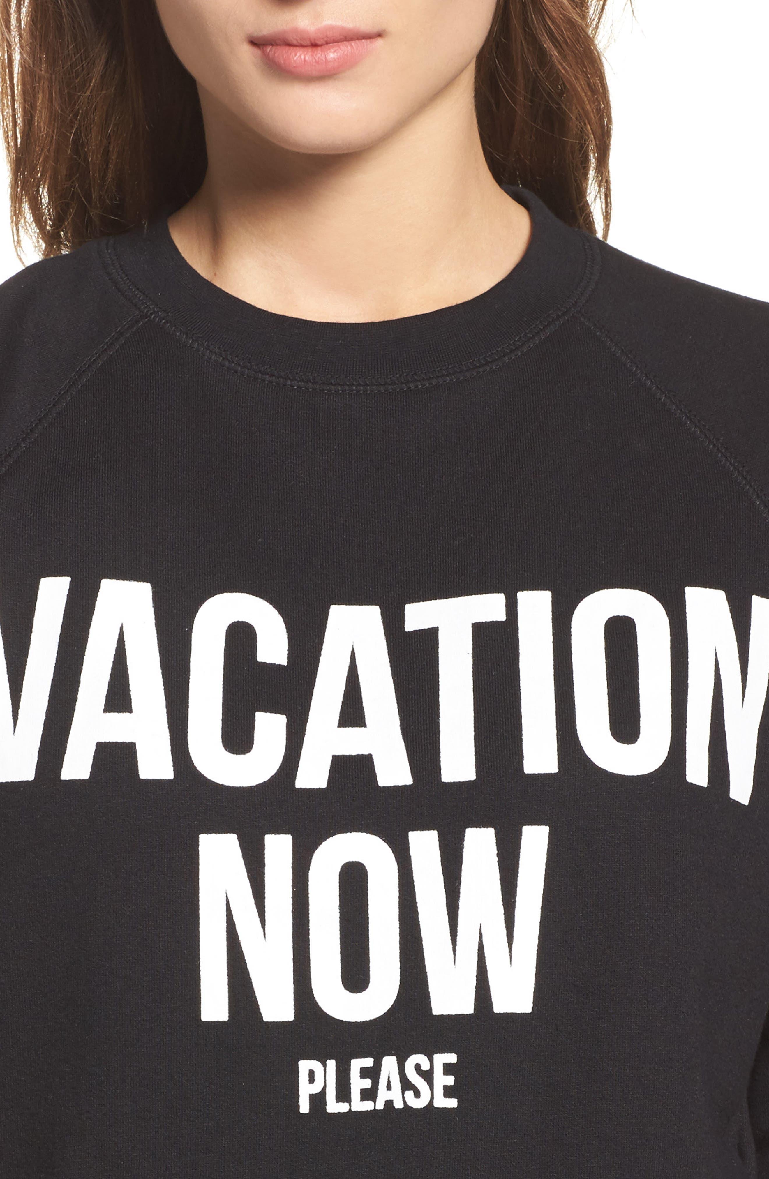 Vacation Now Sweatshirt,                             Alternate thumbnail 4, color,                             Black
