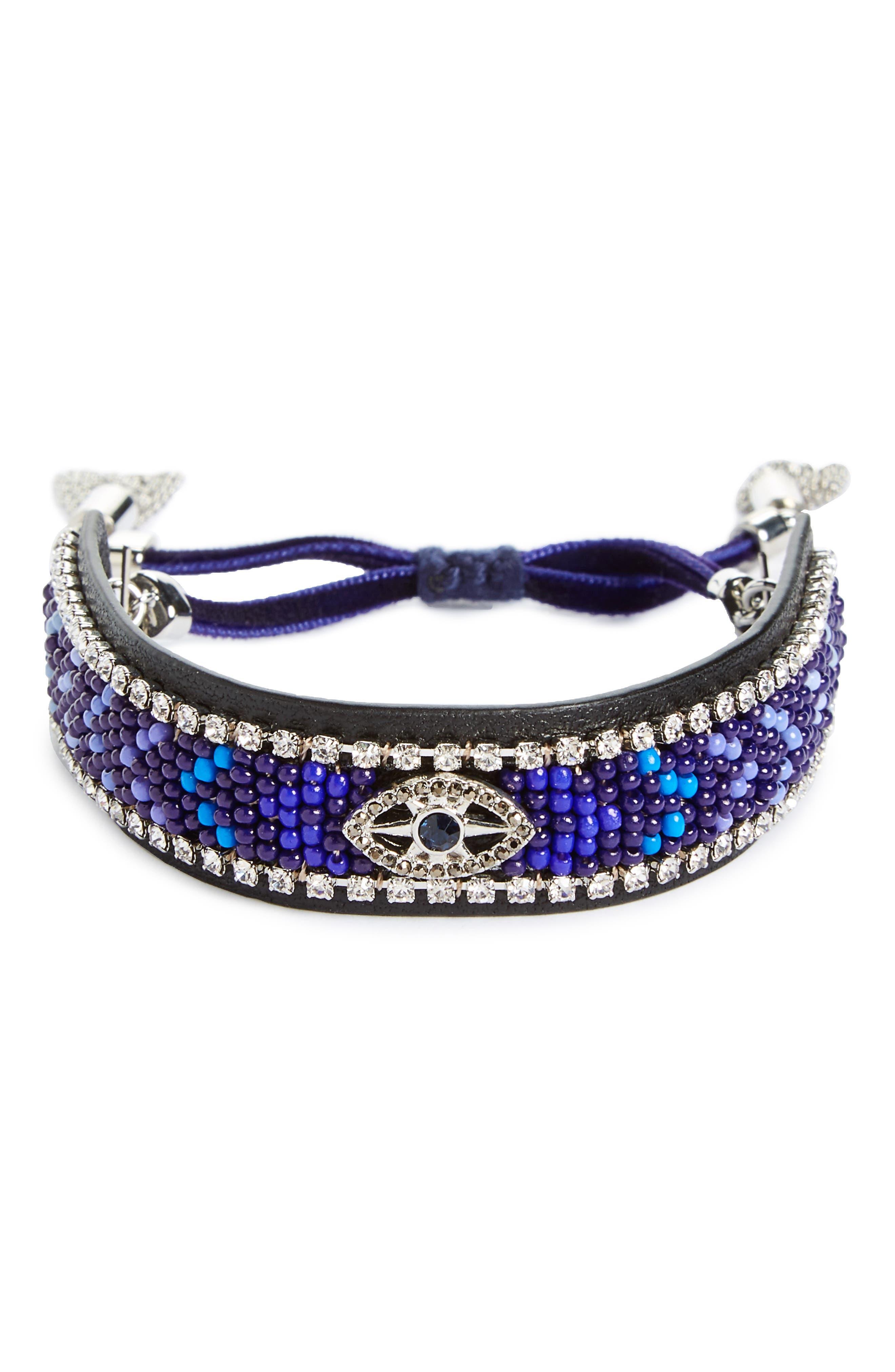 Rebecca Minkoff Celestial Evil Eye Leather Bracelet