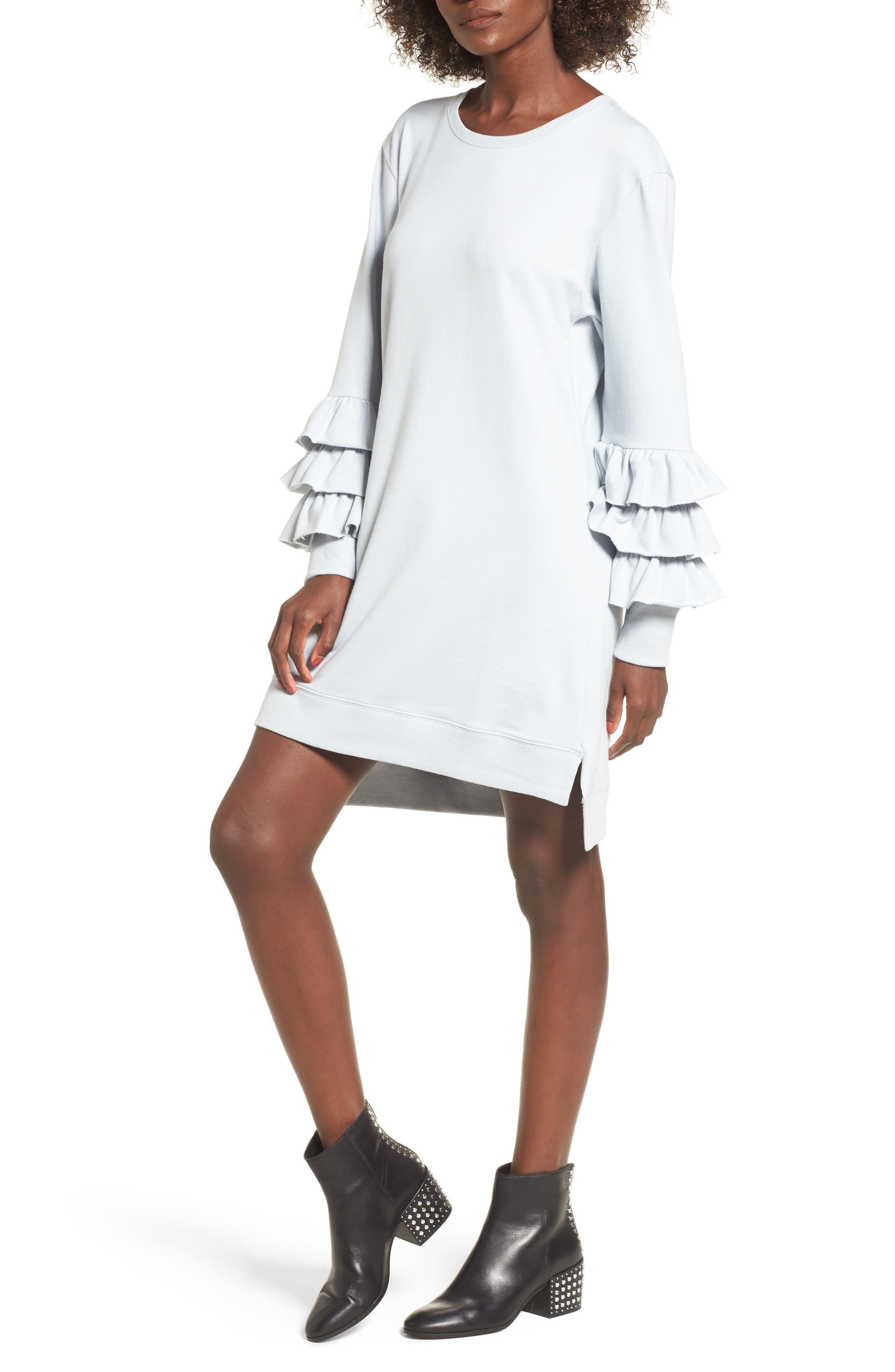 Tier Sleeve Sweatshirt Dress,                             Main thumbnail 1, color,                             Blue Pearl