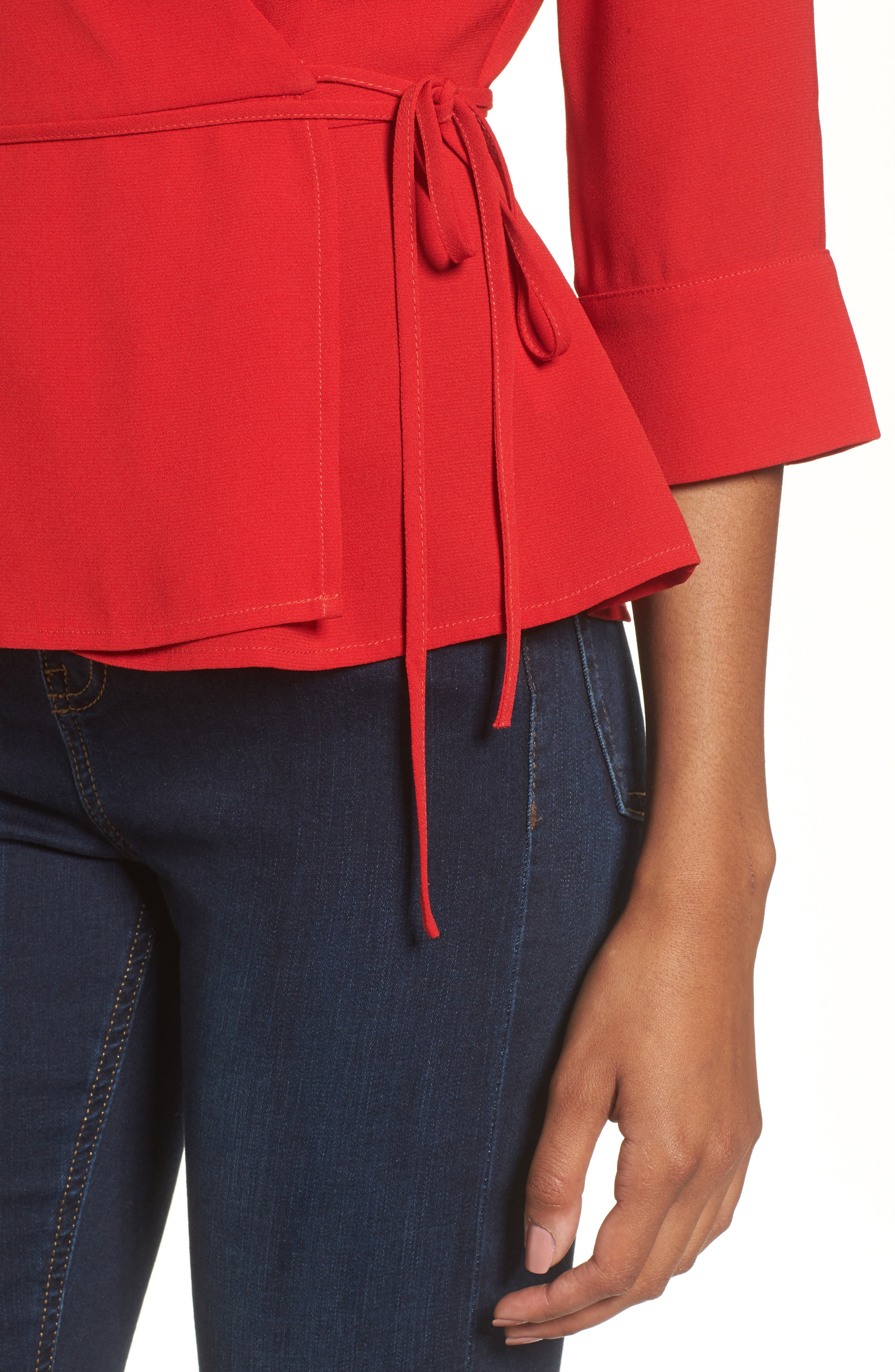 Wrap Top,                             Alternate thumbnail 4, color,                             Red