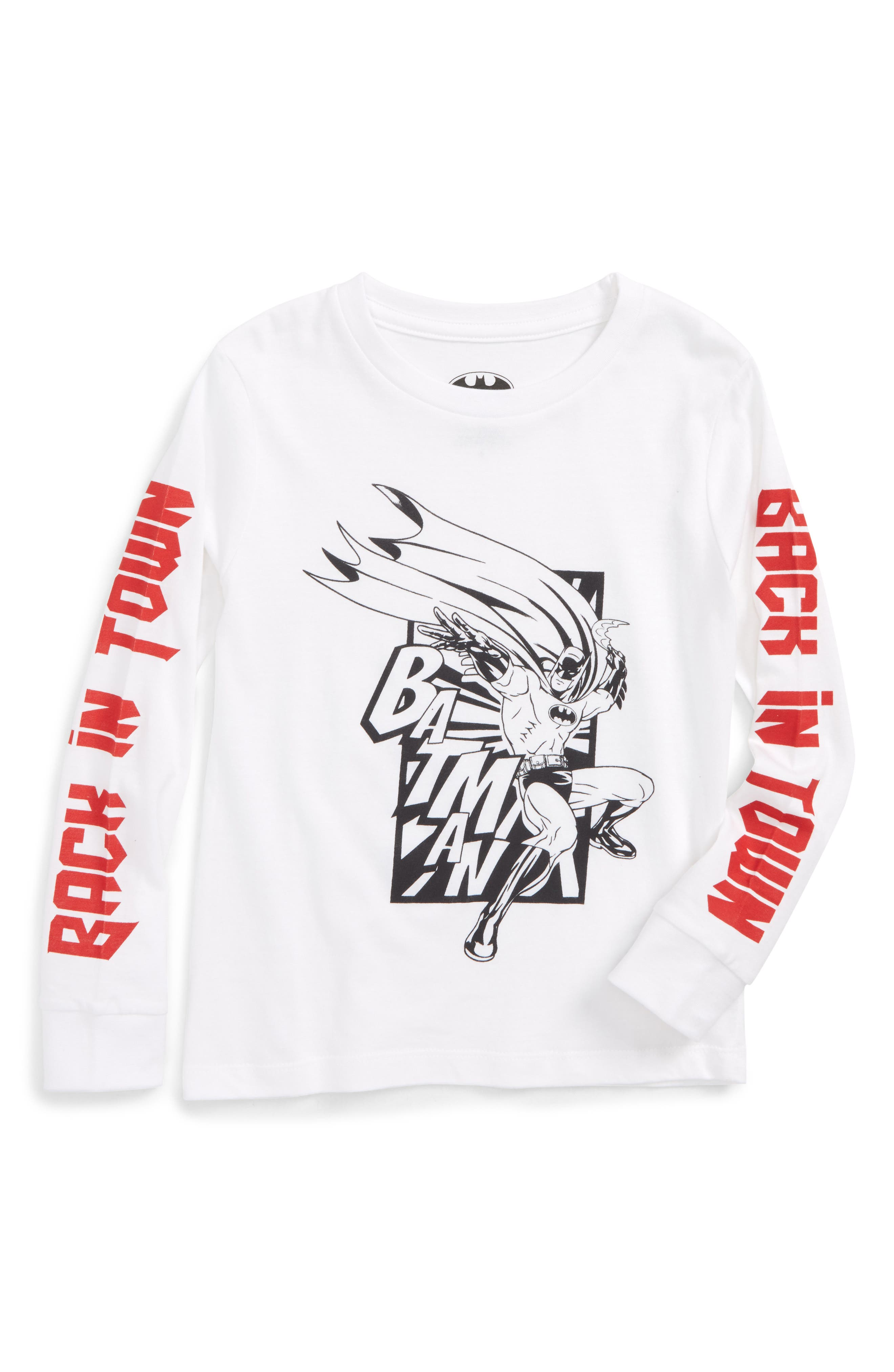 Bat in Town Long Sleeve T-Shirt,                         Main,                         color, White