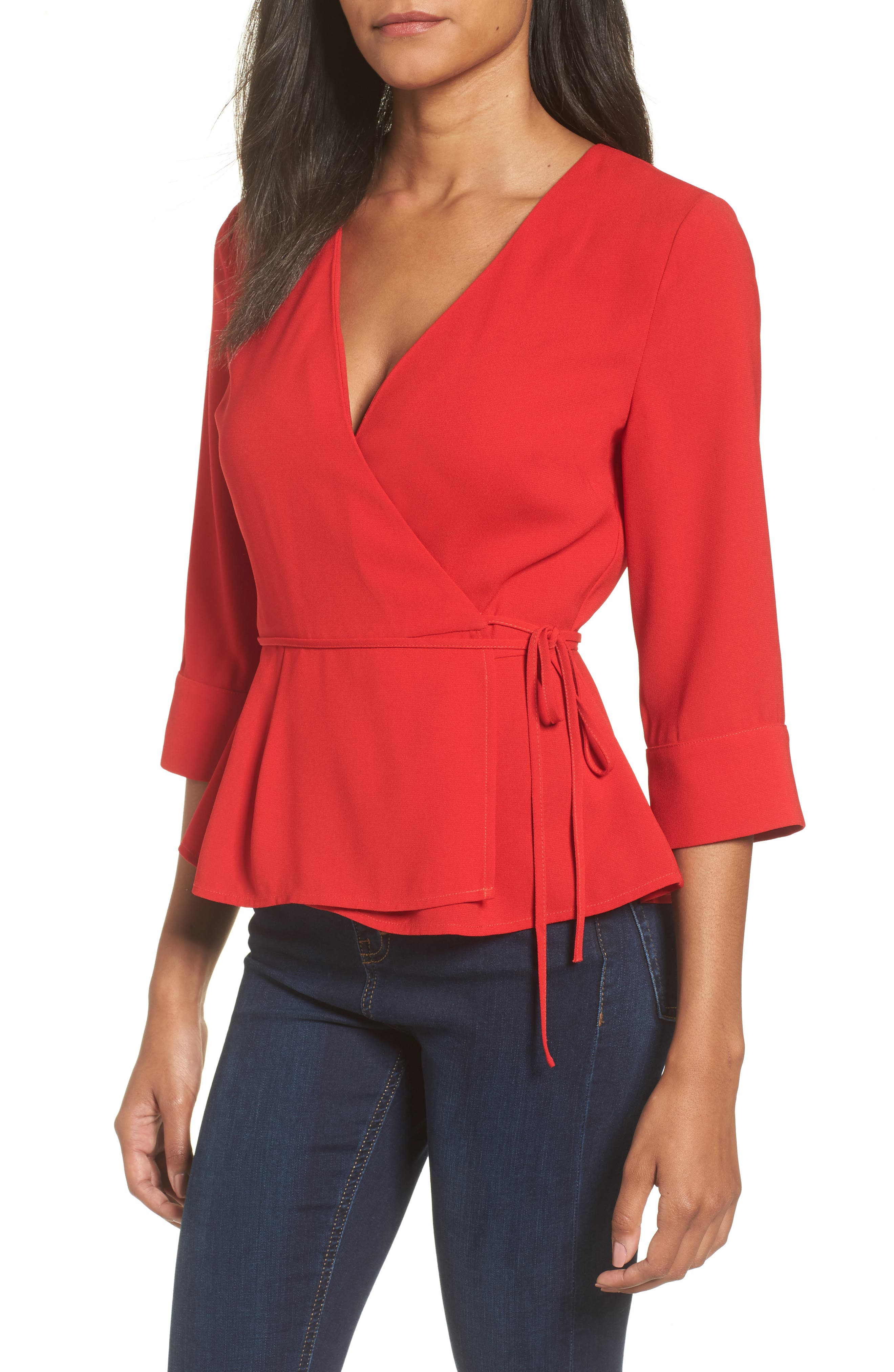 Wrap Top,                             Main thumbnail 1, color,                             Red