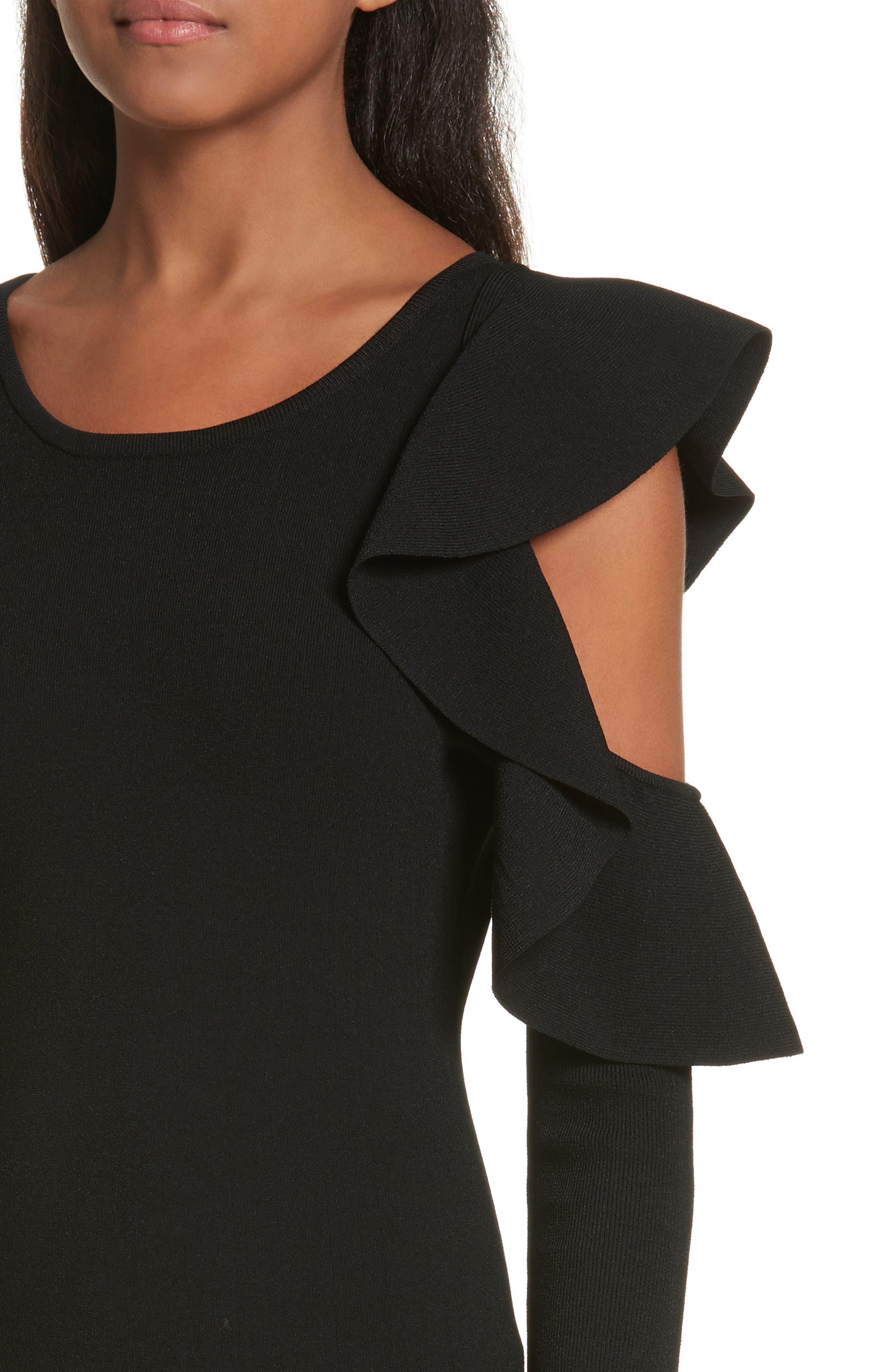 Cold Shoulder Flounce Sheath Dress,                             Alternate thumbnail 4, color,                             Black